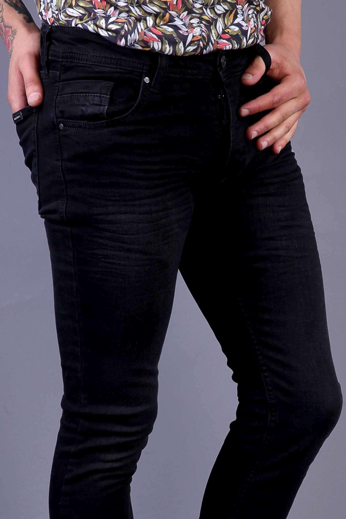 Basic Yıkamalı Klinkırlı Slim Fit Kot Pantolon Siyah