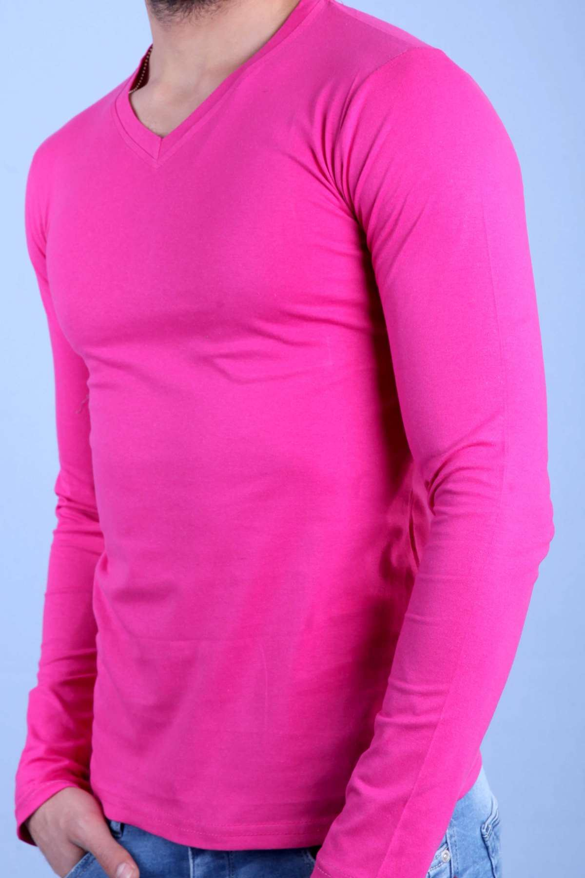 Basic V Yaka Slim Fit Sweatshirt Koyu Pembe