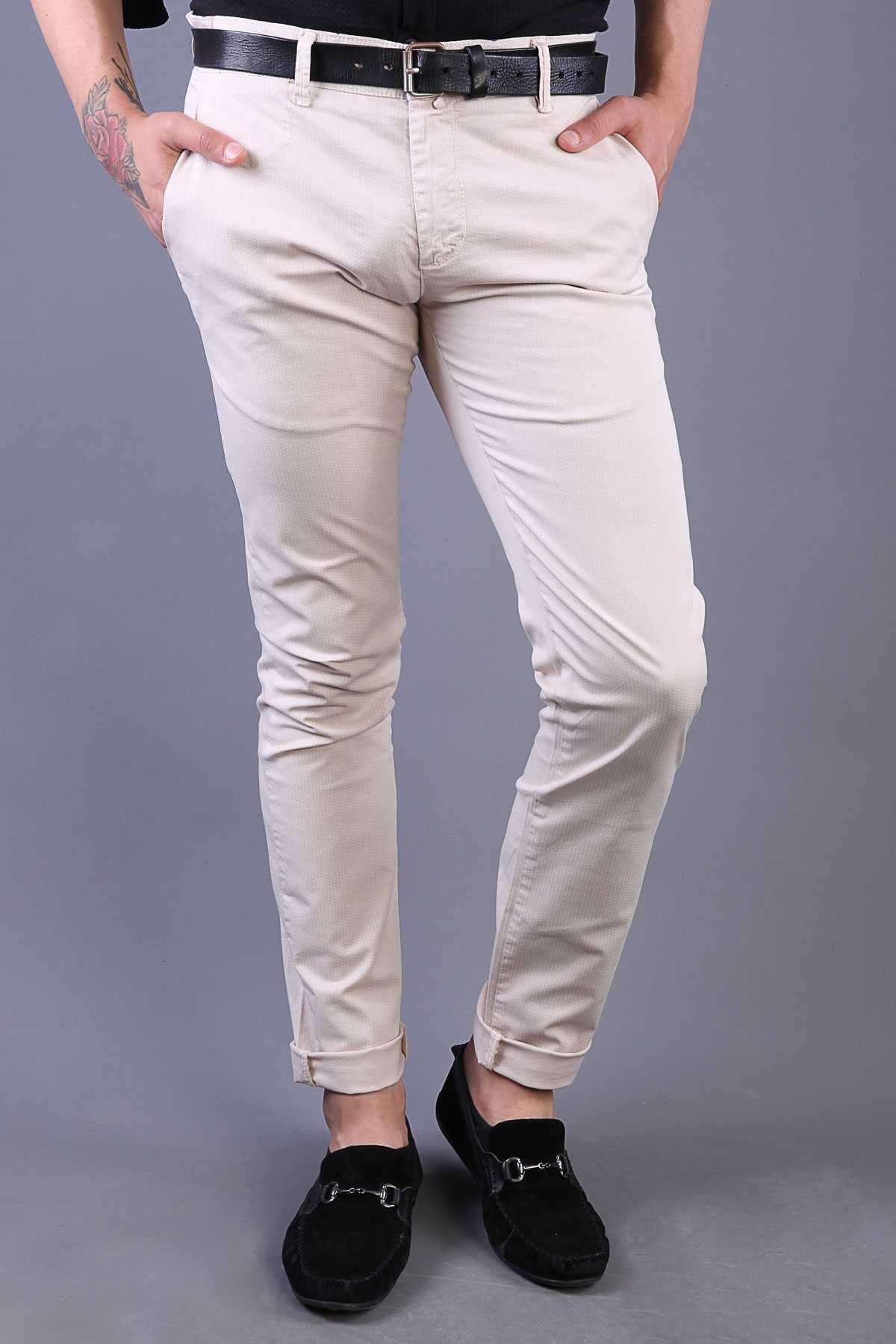 Baskılı Yıkamalı Slim Fit Pantolon Krem