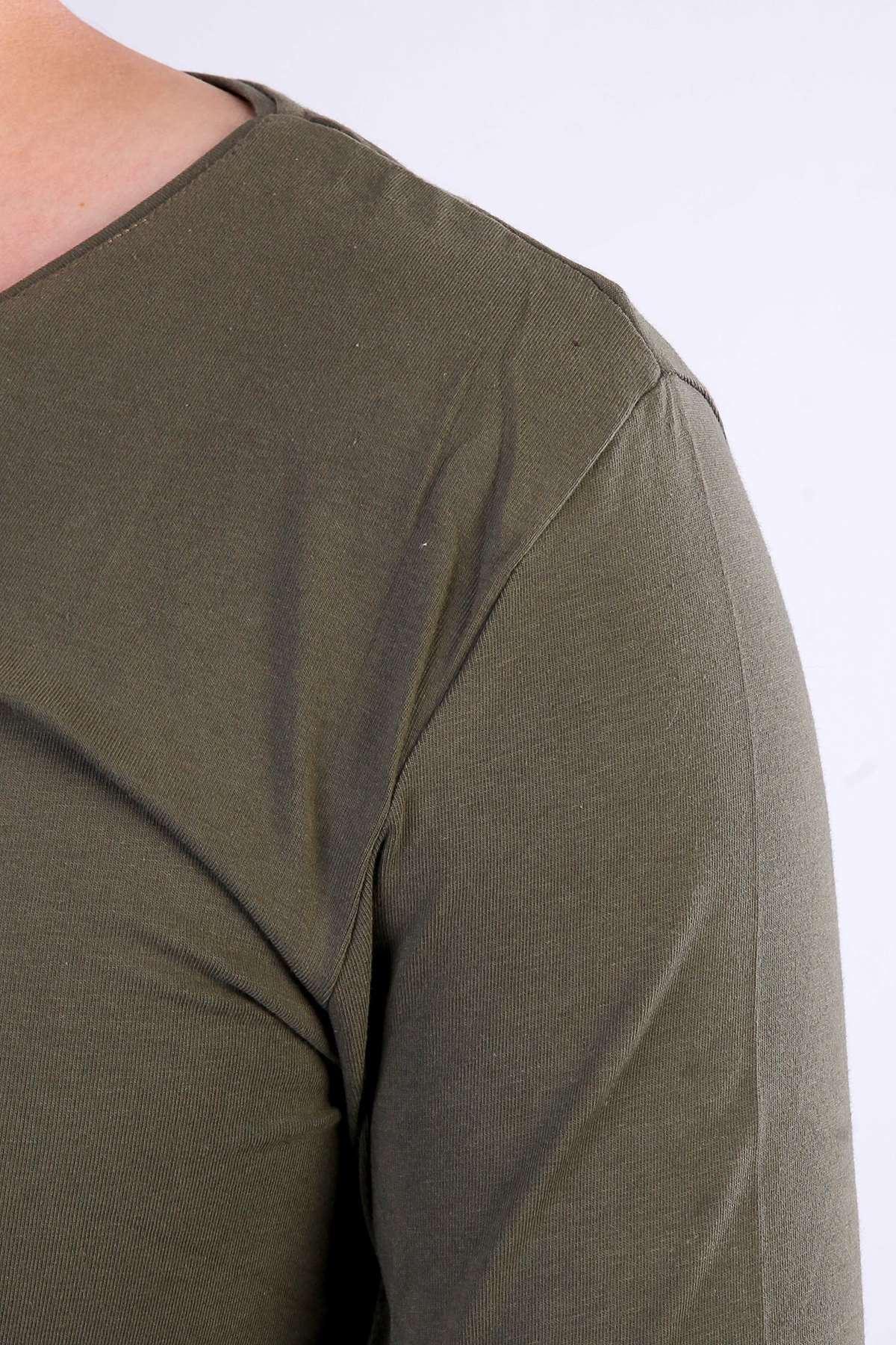 Basic V Yaka Uzun Kol Swetshirt Yeşil