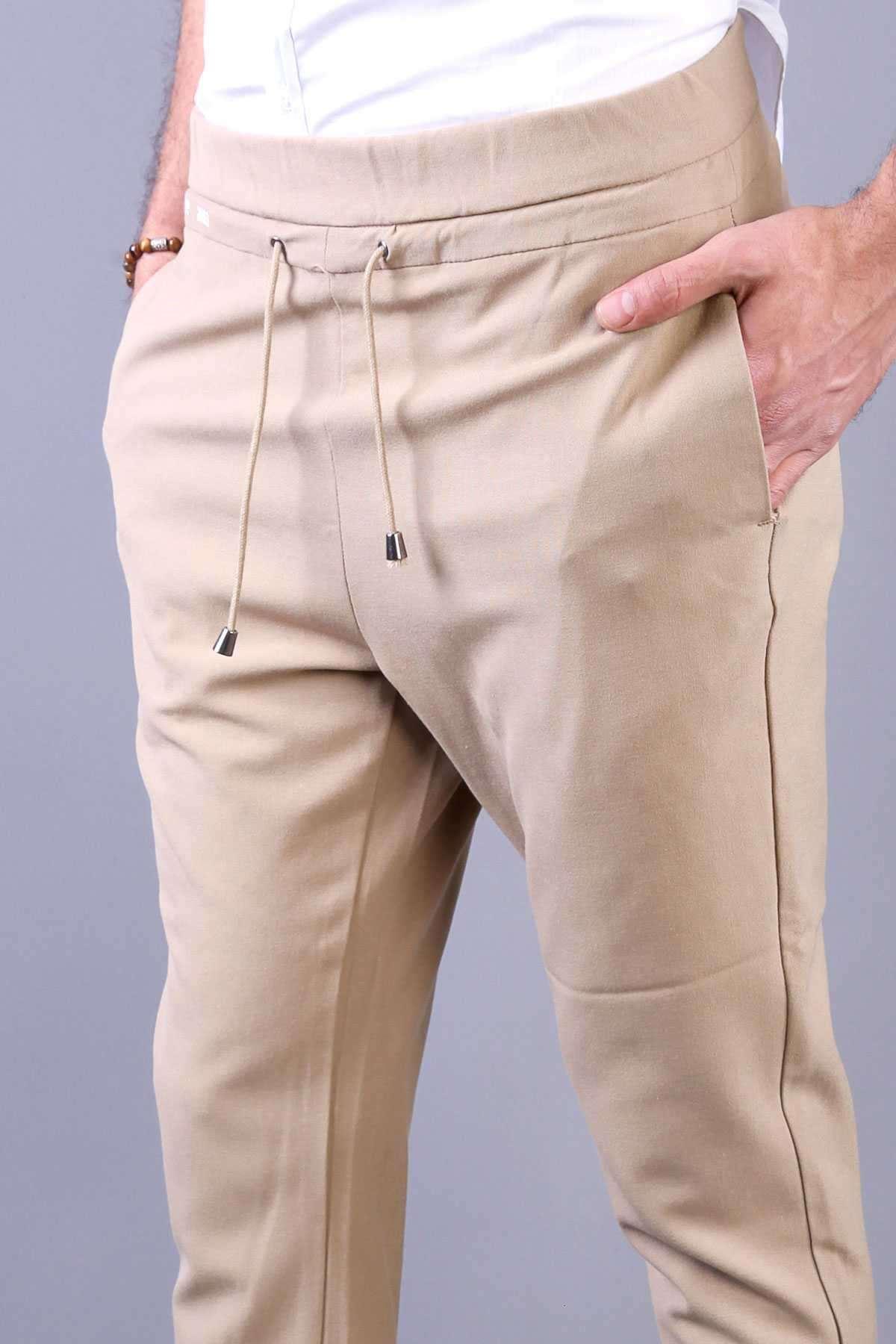 Beli İp Bağcıklı Çift Cep Ön Ağı Uzun Keten Bilek Boy Pantolon Bej