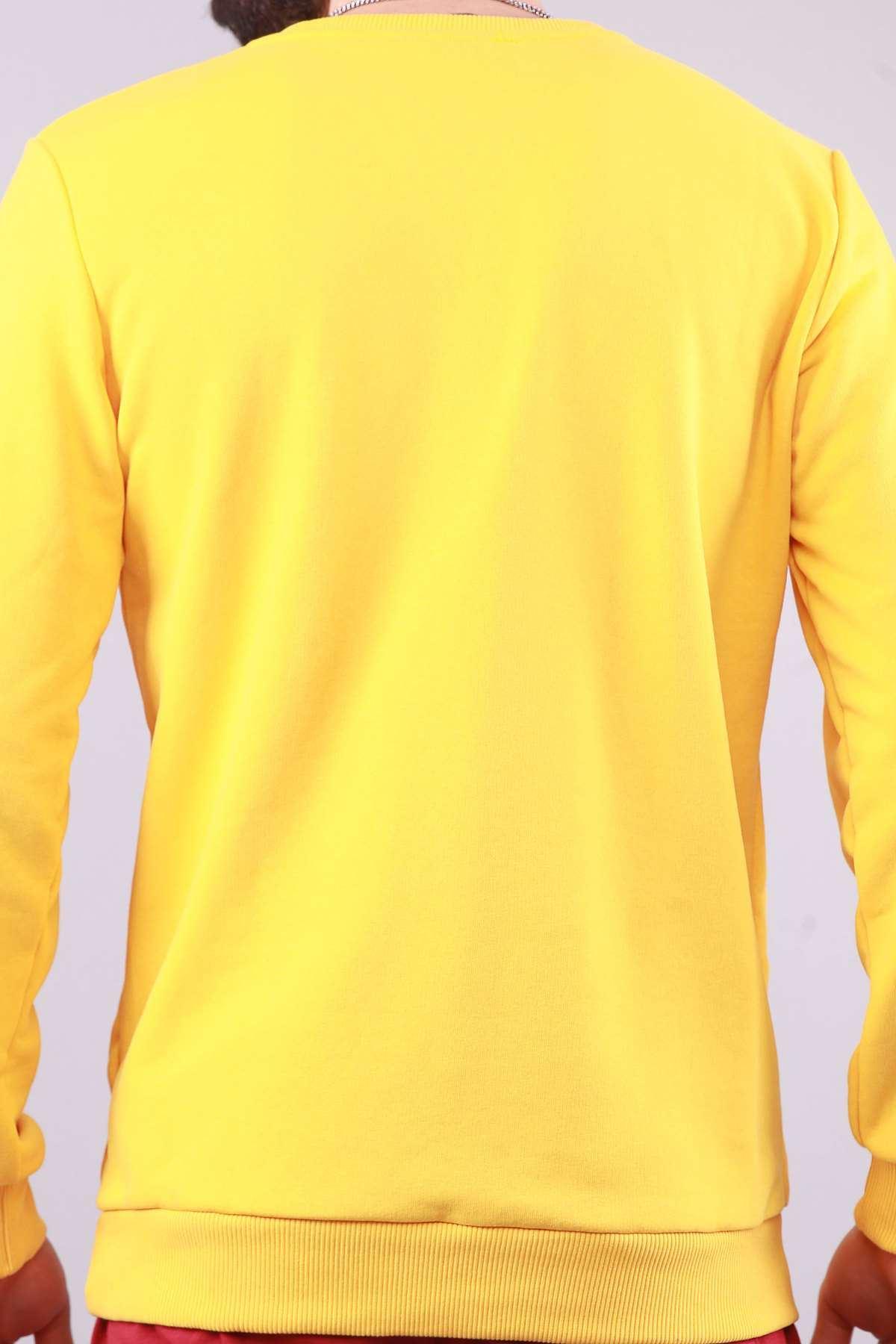 Blvck Baskılı Etek Ve Kol Uçları Lastikli Sweat Sarı