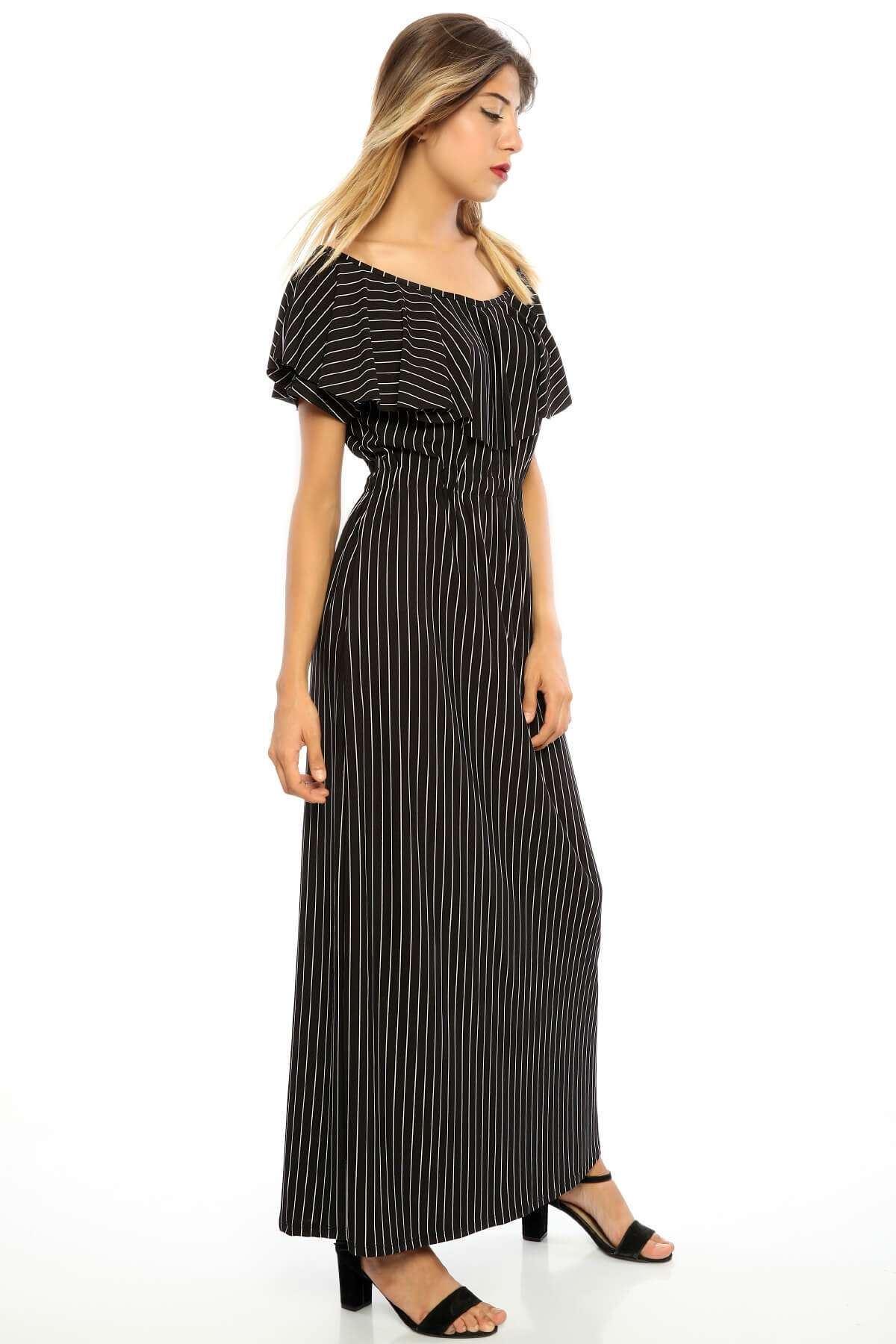 Bel Büzmeli Yakası Volanlı Çizgili Elbise Siyah