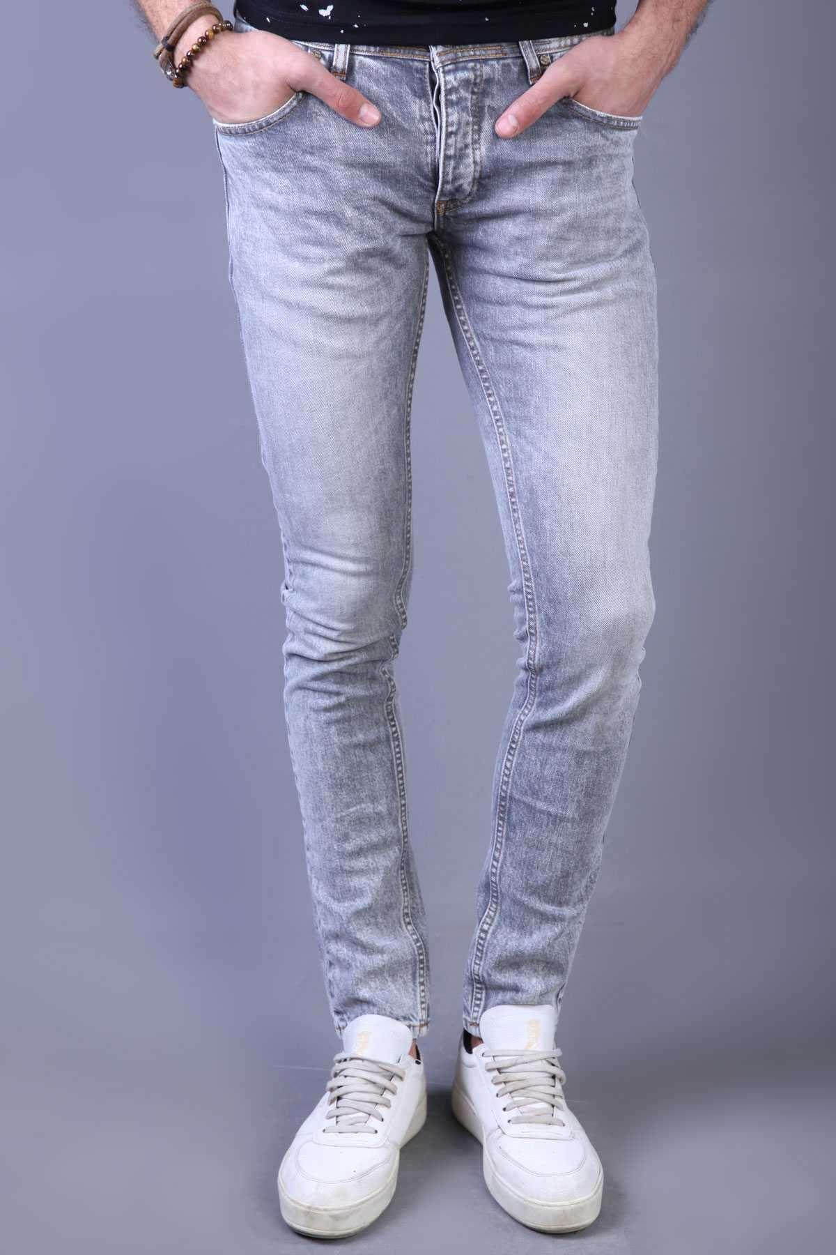 Bel Ve Paça Ucu Lazer Tırtıklı Slim Fit Kot Pantolon Gri