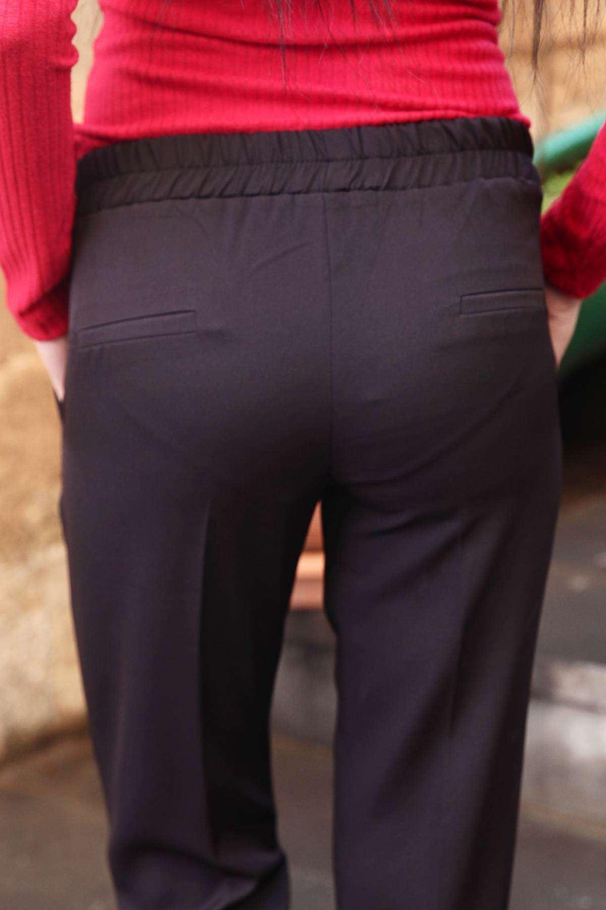 Bel Büzmeli Çift Cep Paça Ucu Katlama Pantolon Siyah