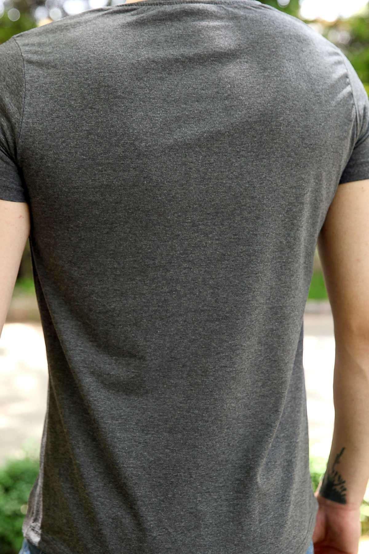 Bmx Yazılı Bisikletçi Baskılı Slim Fit Tişört Antrasit
