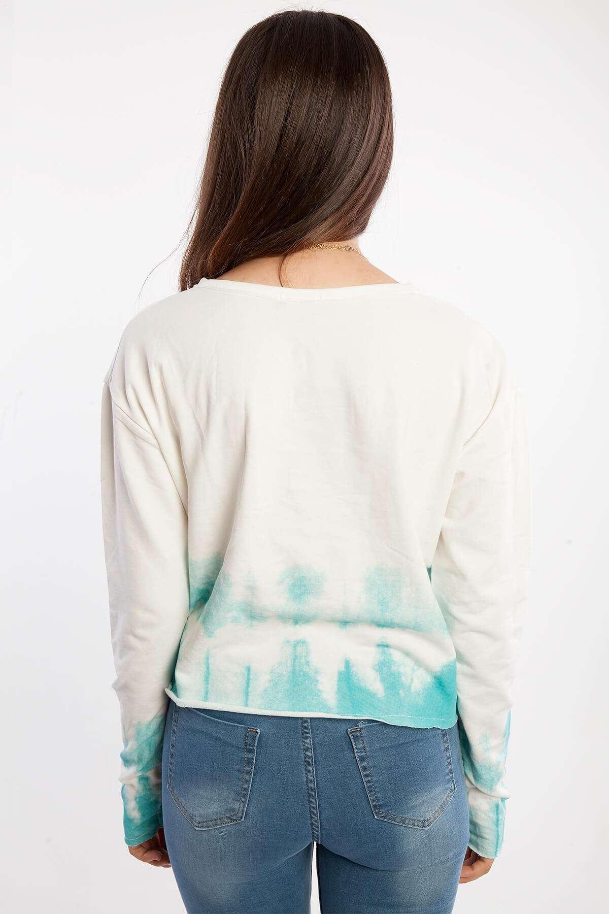Boncuklu Altı Renk Detaylı Kısa Sweatshirt Beyaz