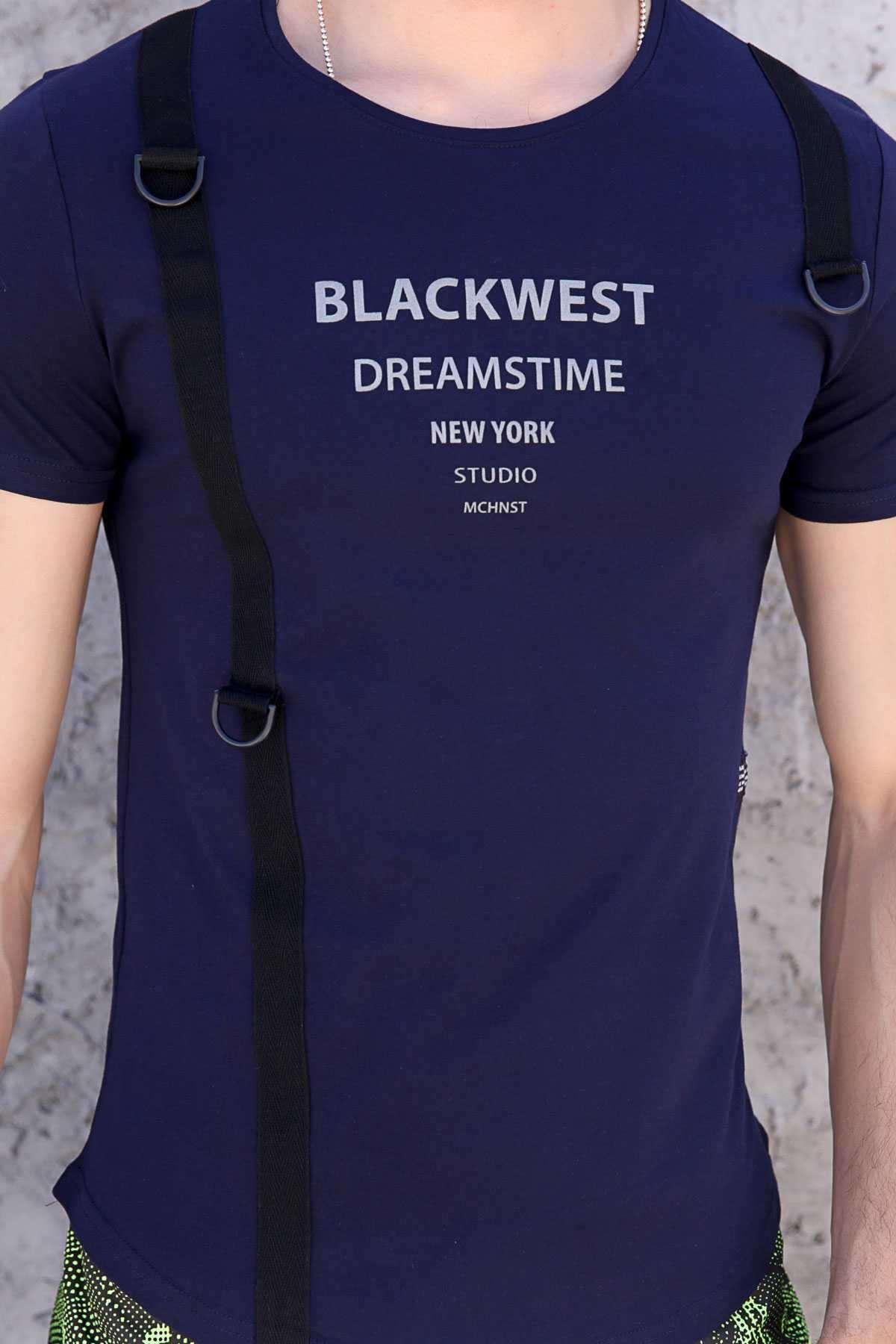 Blackwest Yazılı Yanı Ekstraforlu Slim Fit Tişört Lacivert