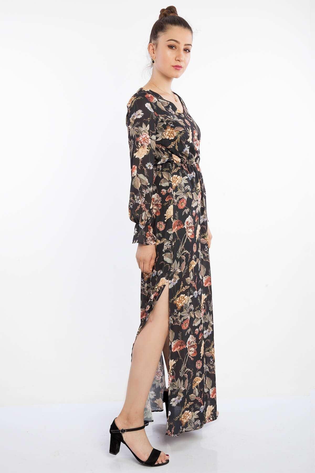 Bel Lastik Çiçek Desen Yırtmaçlı Elbise Siyah