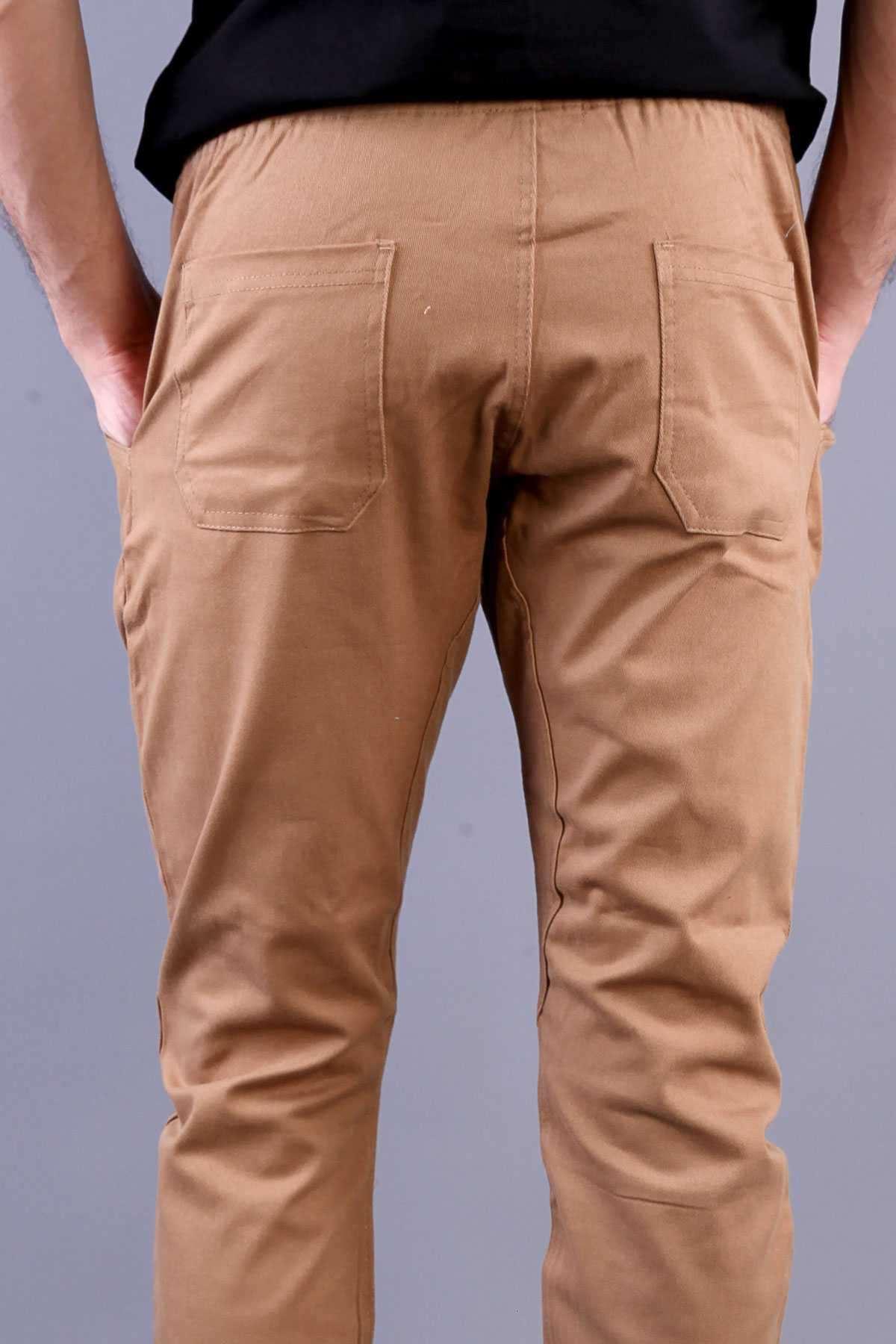 Beli Büzmeli Bağcıklı Çift Cep Gabardin Pantolon Camel
