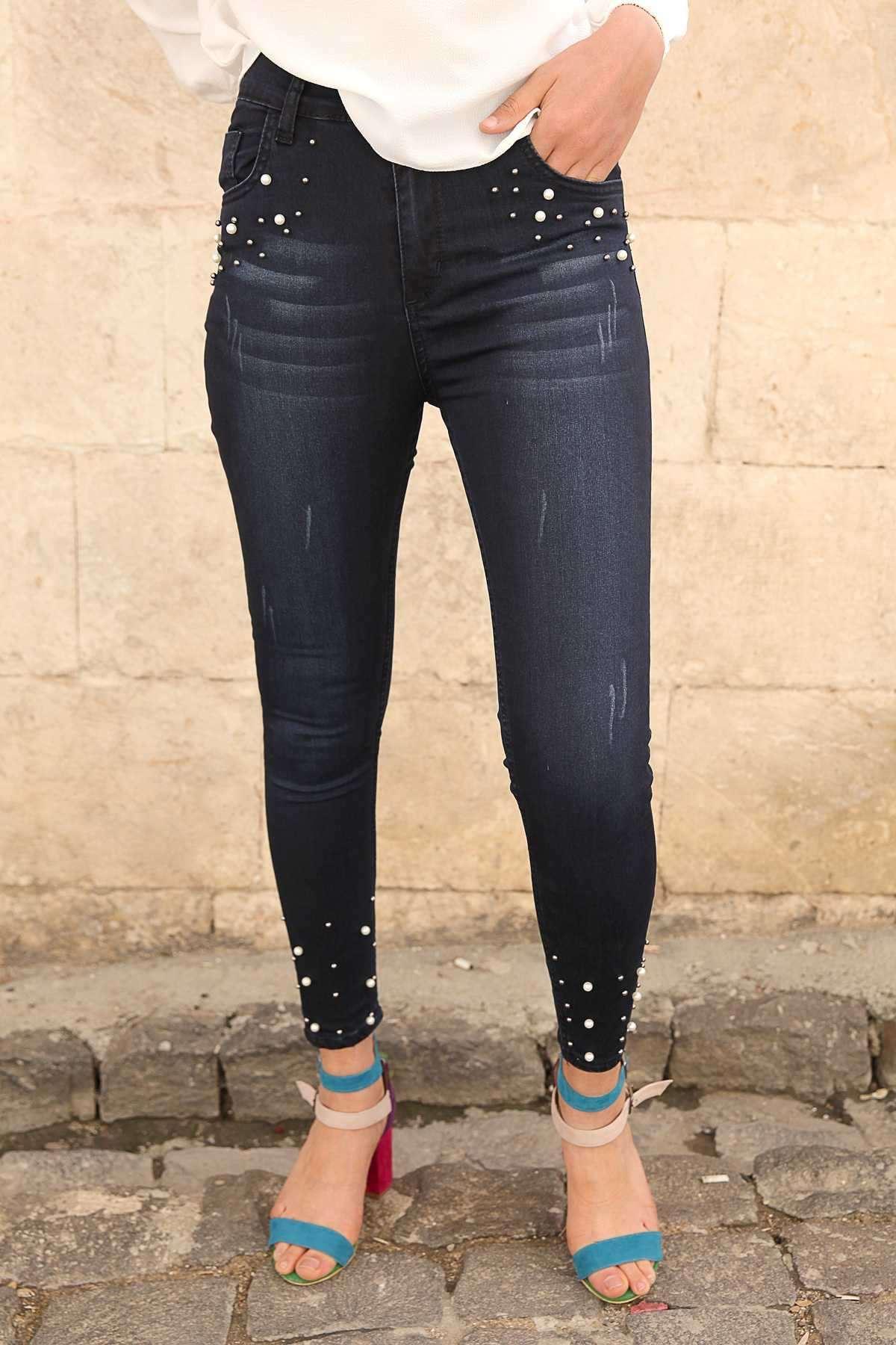 Cep Altı Ve Paçası İnci Detaylı Slim Fit Kot Pantolon Koyu Lacivert