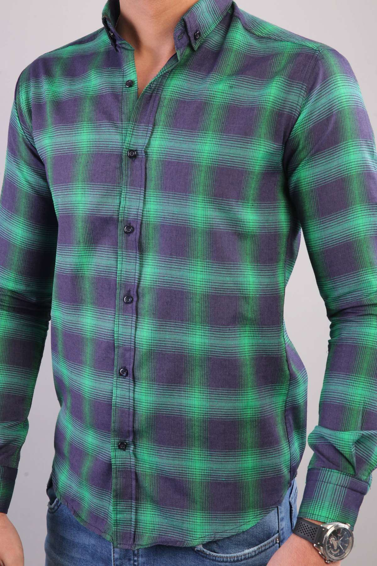 Büyük Kare Desenli İki Renkli Slim Fit Gömlek Lacivert-Yeşil