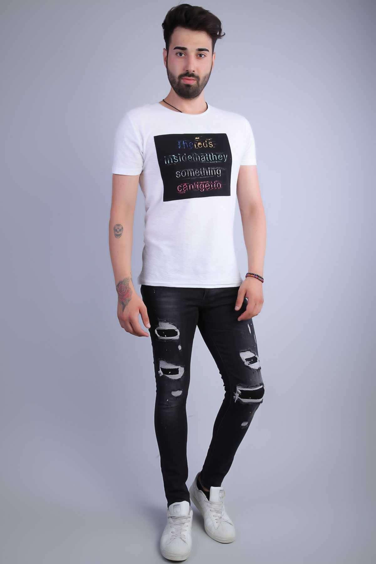 Boya Sıçratmalı Diz Yırtıklı Slim Fit Kot Pantolon Siyah