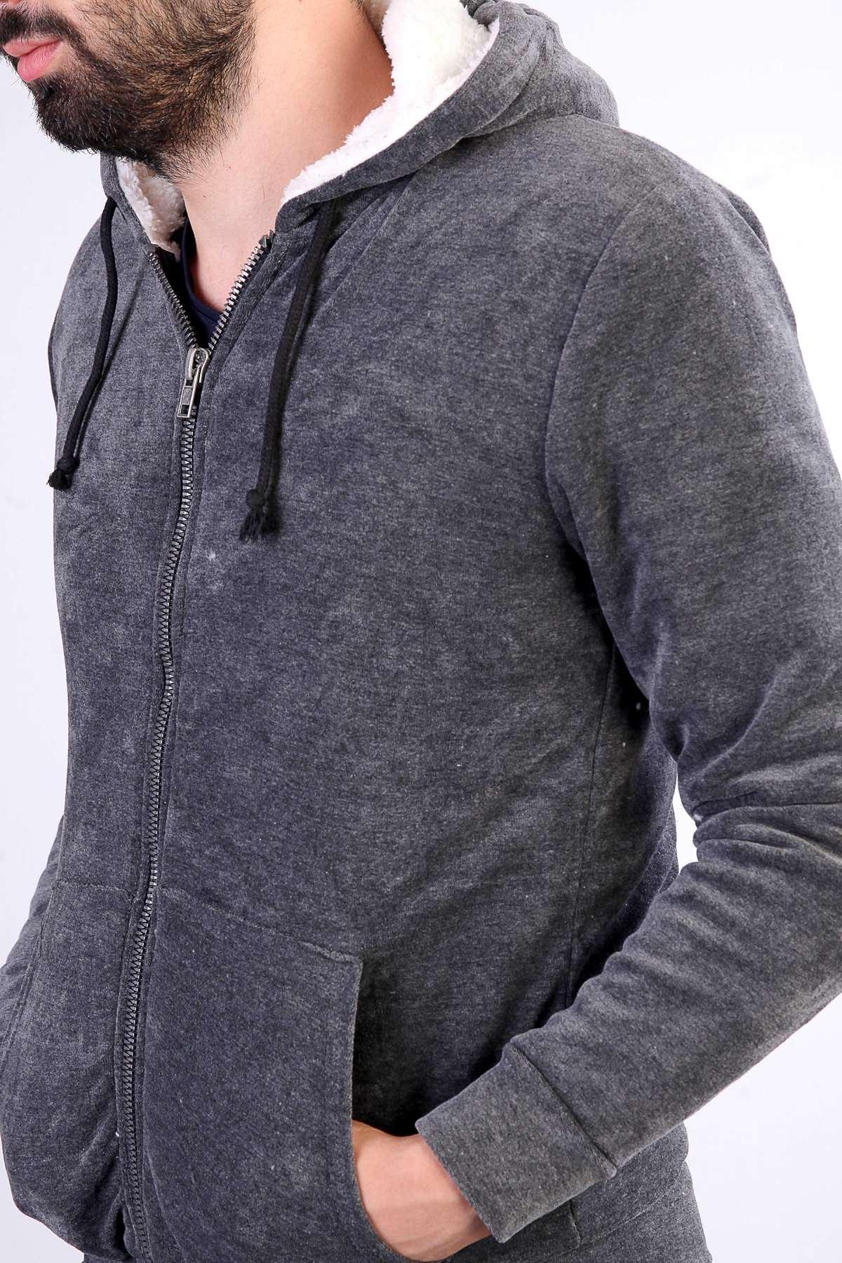 Boydan Fermuarlı Önü Cepli Kadife Sweatshirt Antrasit
