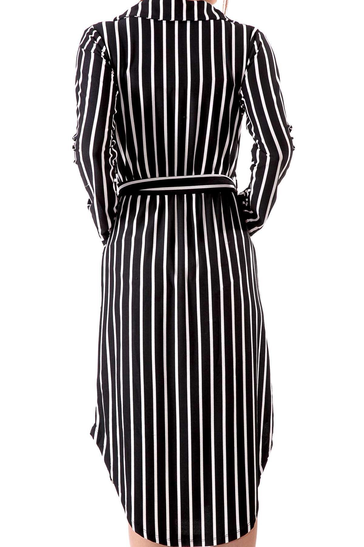 Boyuna Şeritli Önü Yırtmaçlı Cep Detaylı Önü Çarpraz Elbise Siyah-Beyaz