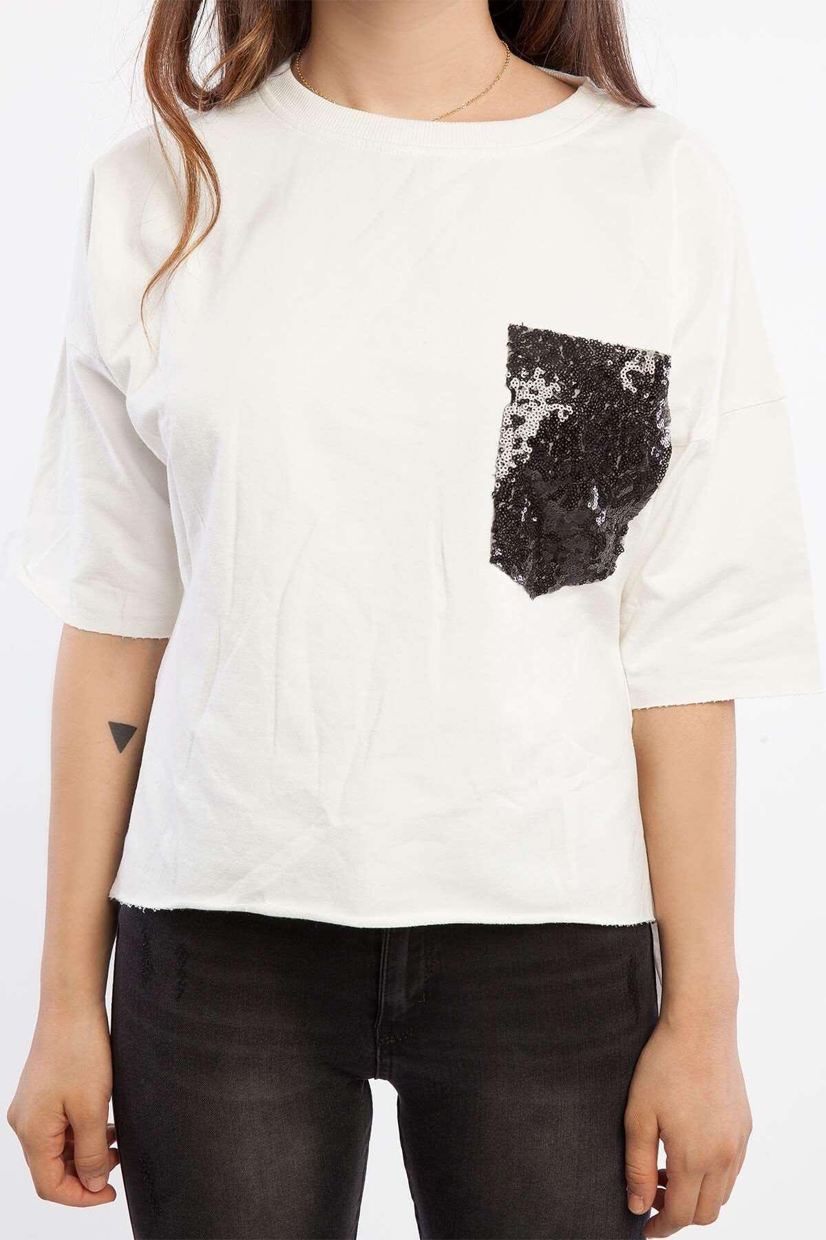 Cebi Pul Detaylı Önü Kısa Sweatshirt Beyaz