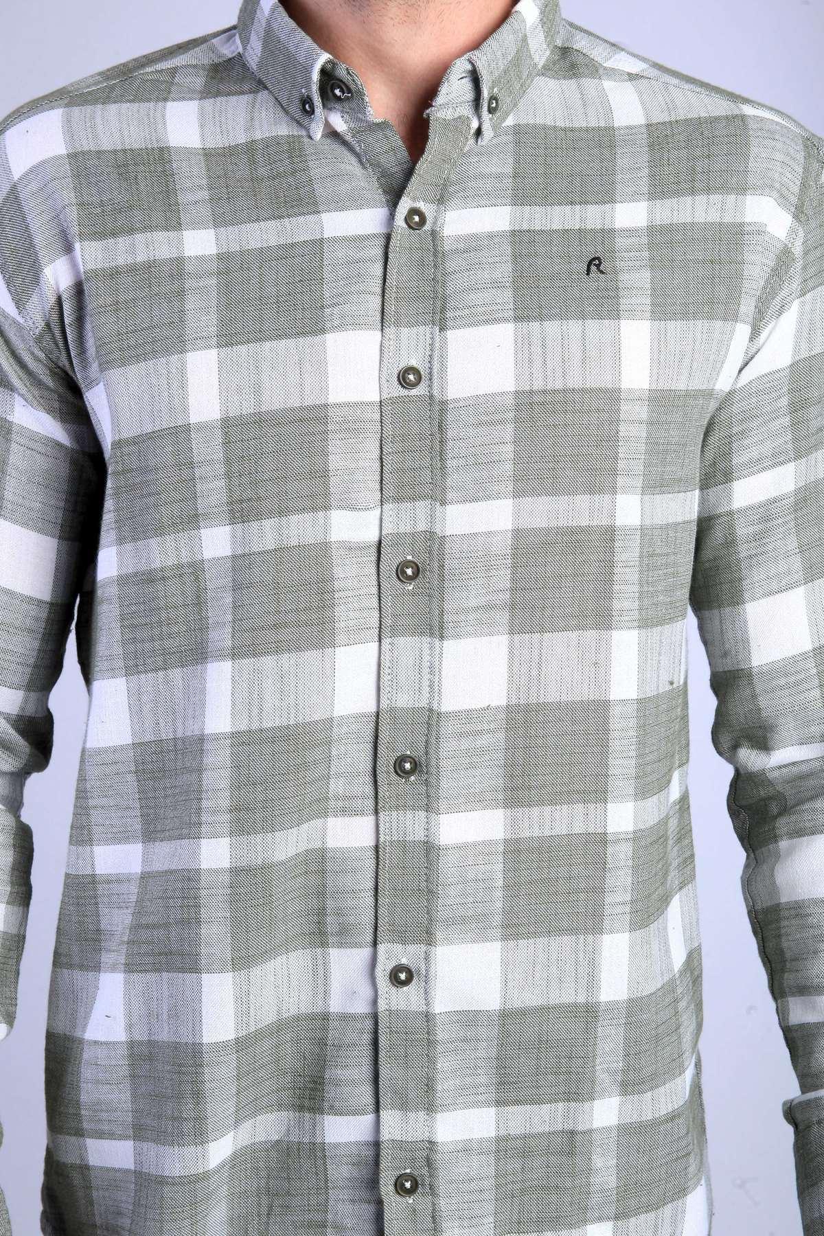 Büyük Kare Desenli Ekose Keten Slim Fit Gömlek Haki