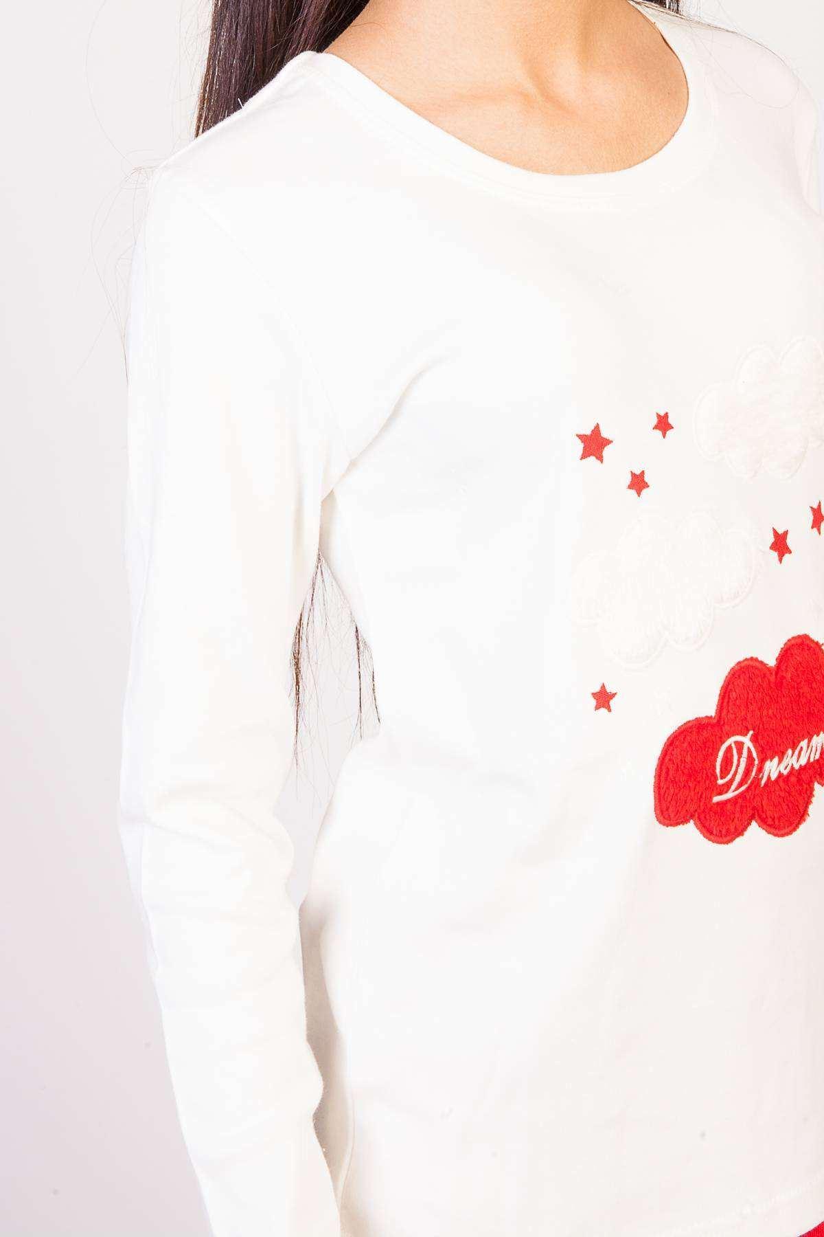 Bulut Baskı Detaylı Kadife Pijama Takımı Ekru