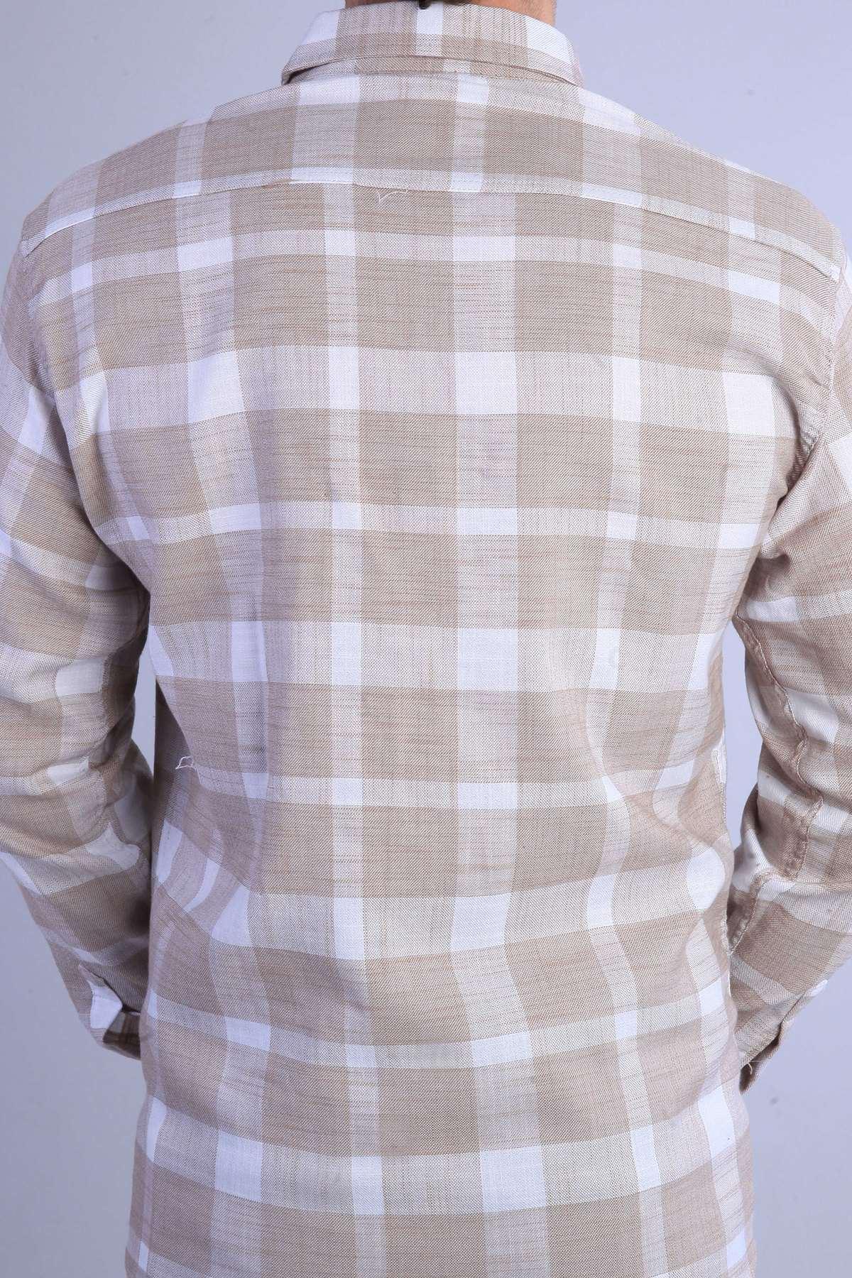 Büyük Kare Desenli Ekose Keten Slim Fit Gömlek Bej