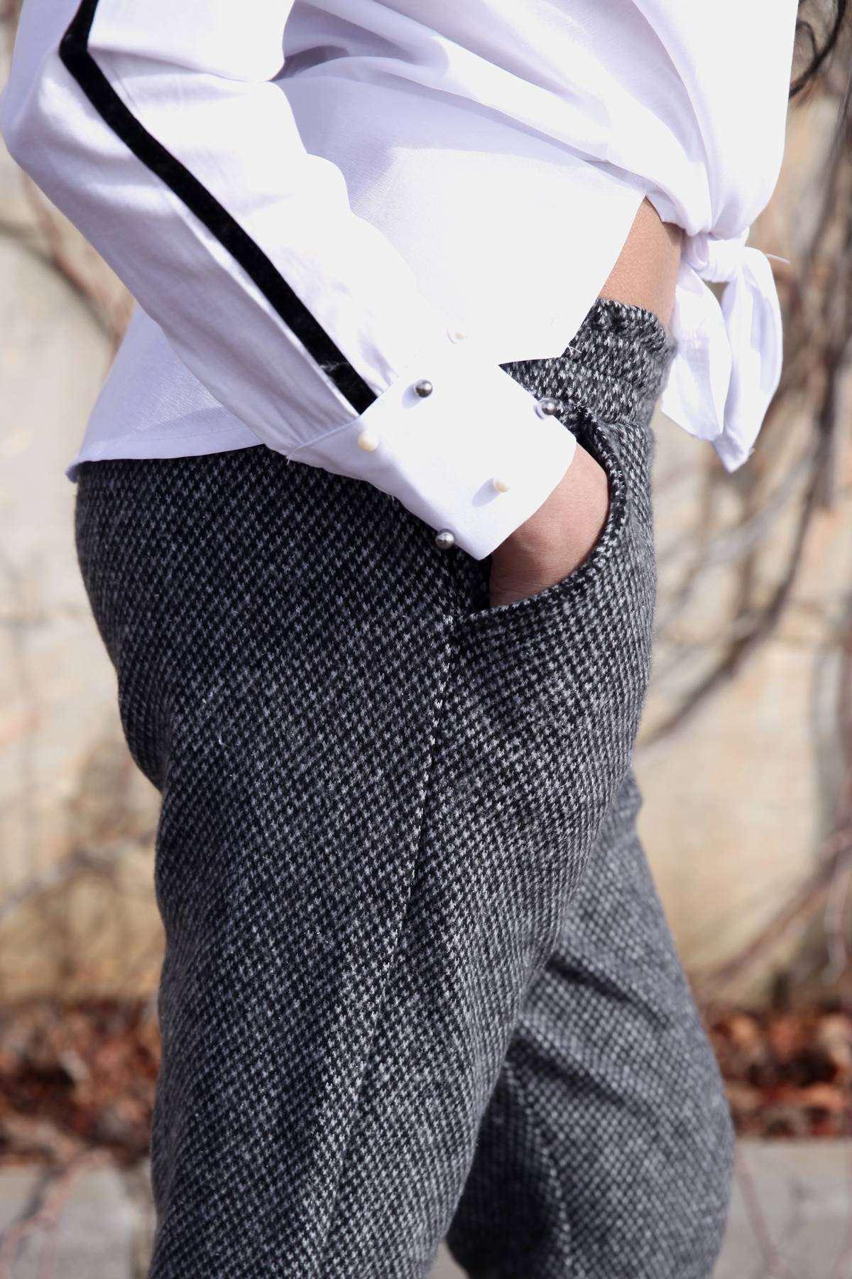 Cep Detaylı Kaşe Pantolon Füme