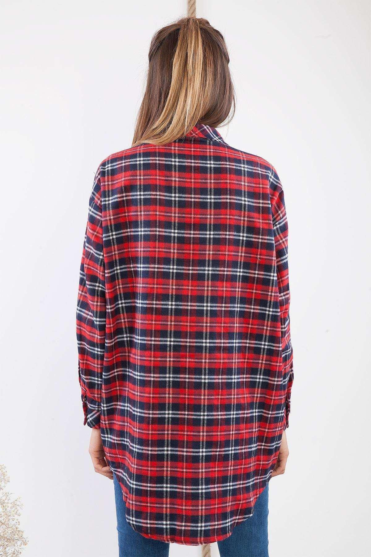 Cep Detaylı Ekose Uzun Gömlek Kırmızı
