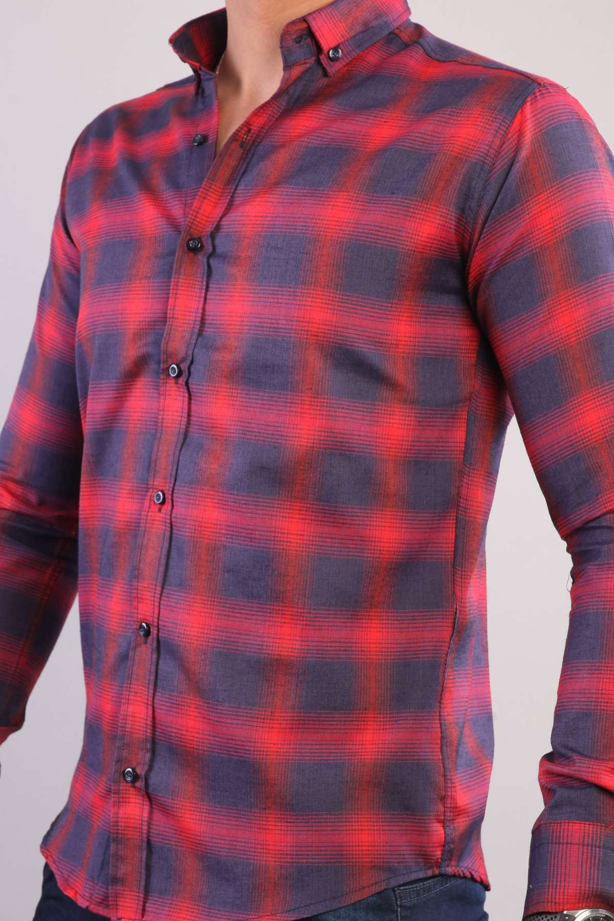Büyük Kare Desenli İki Renkli Slim Fit Gömlek Lacivert-Bordo