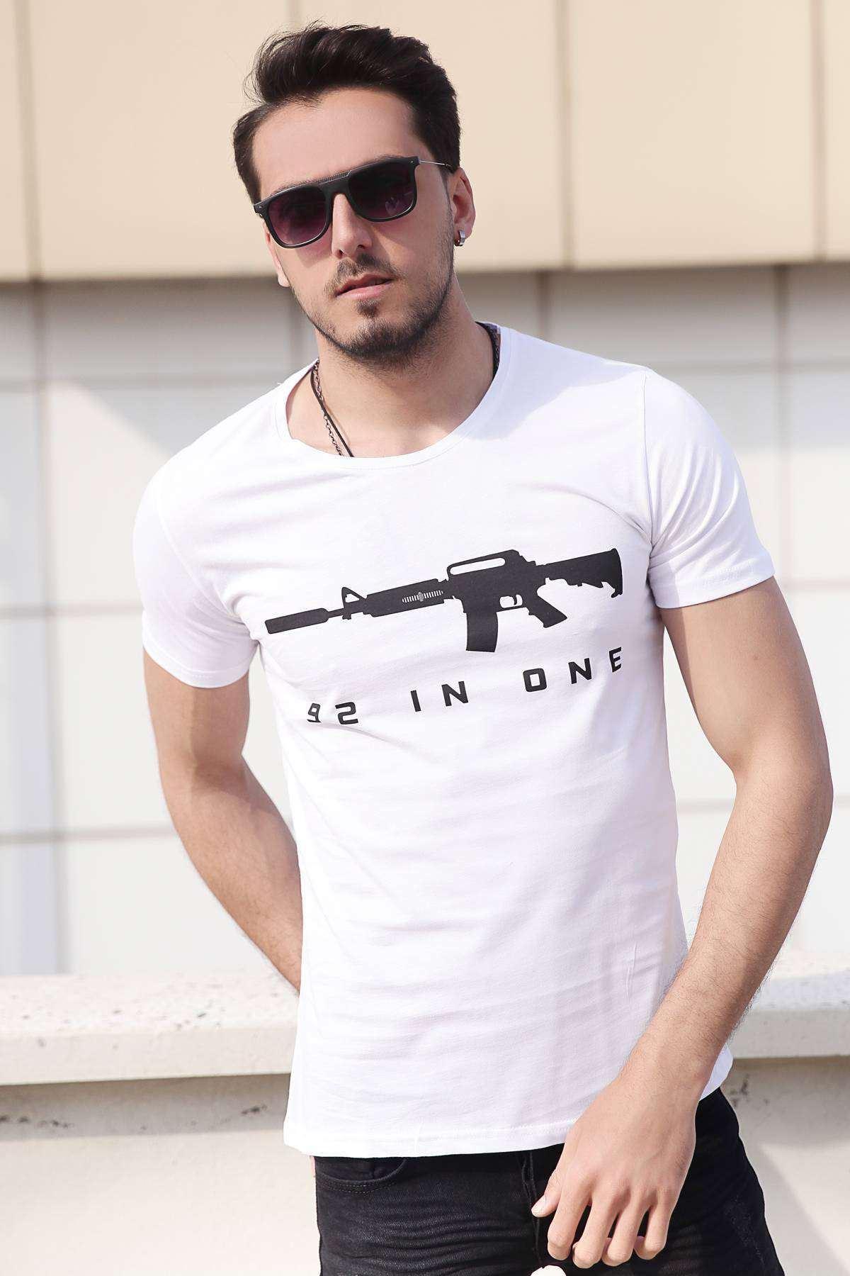 Cs Go M4 Silah Baskılı Tişört Beyaz
