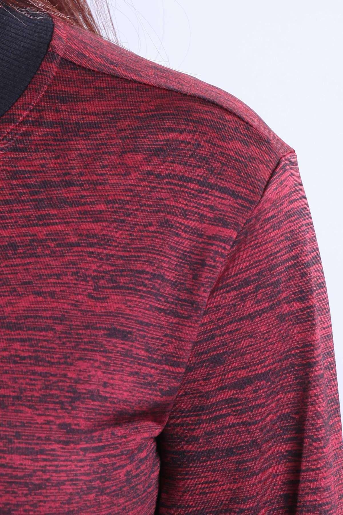 Cepli Boydan Fermuarlı Uzun Kollu Sweatshirt Bordo