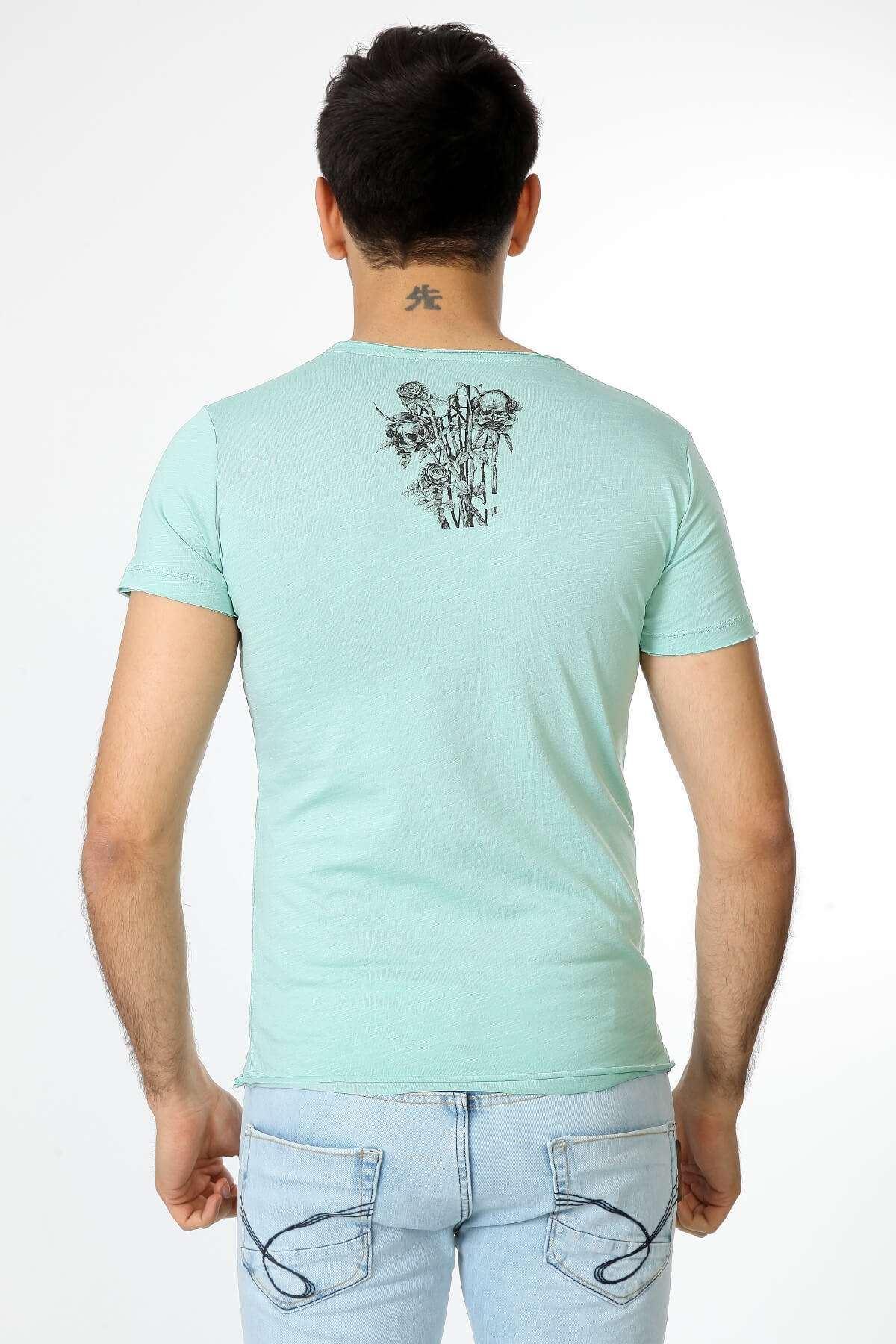 Cep Üstü Ve Sırt Kuru Kafa Tişört Mint