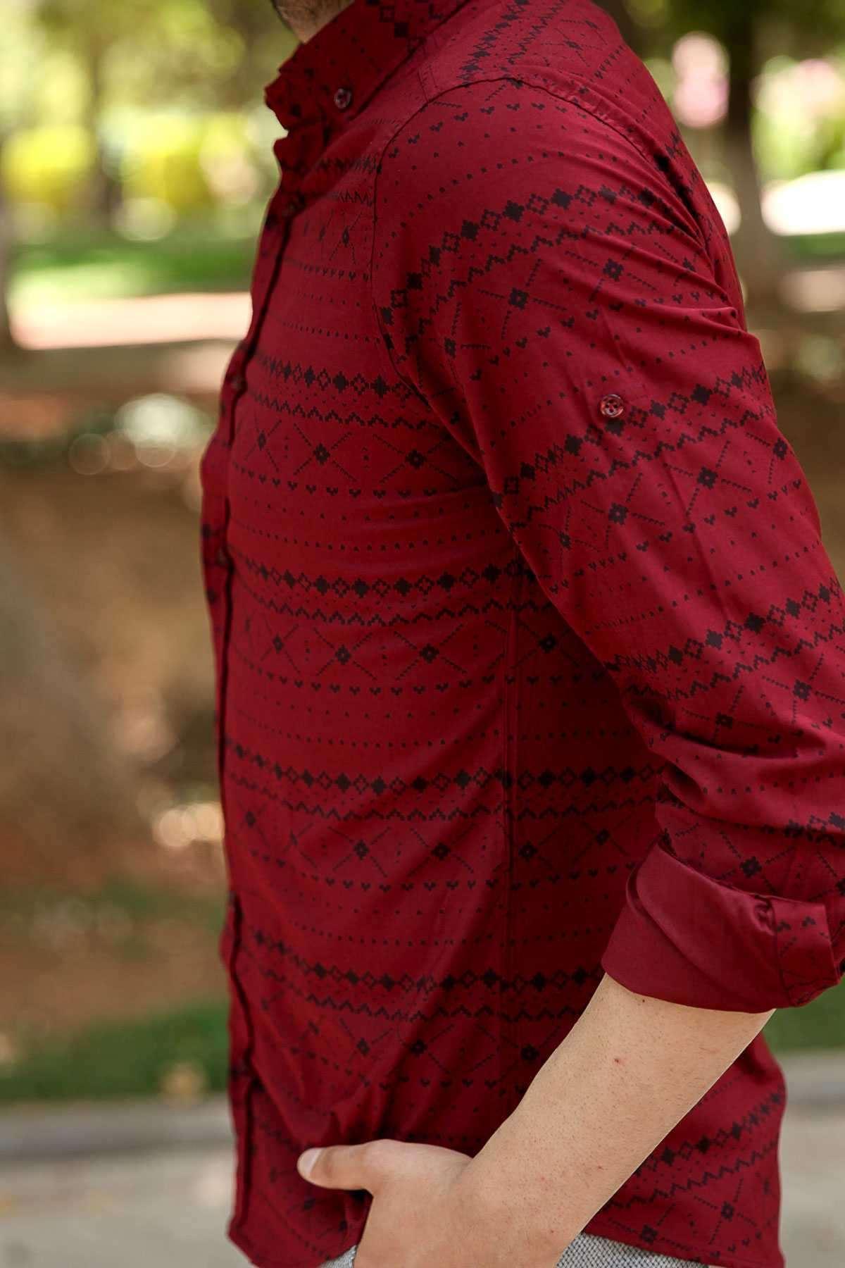 Çarpı Desenli Klasik Yaka Slim Fit Gömlek Bordo