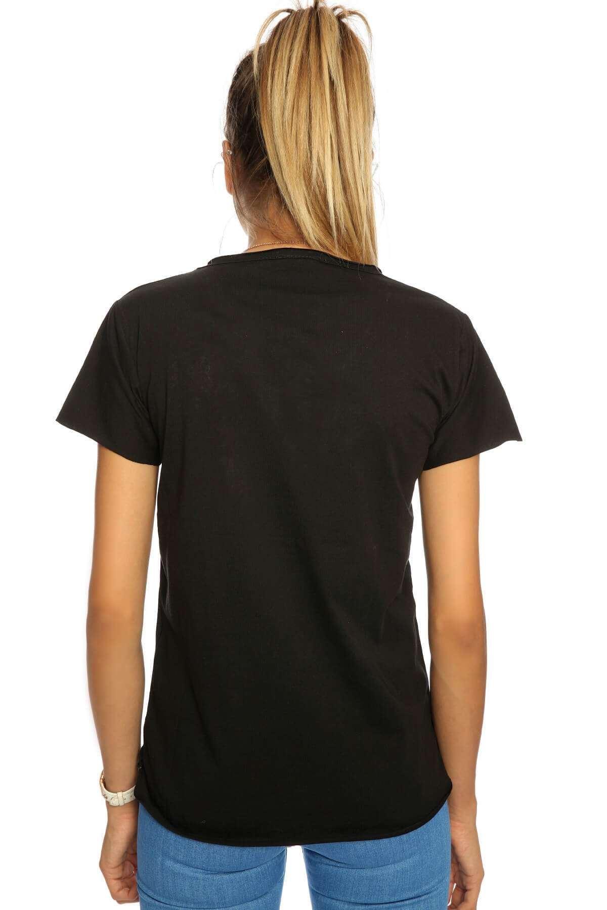 Cep Yazılı Taş Detaylı Tişört Siyah