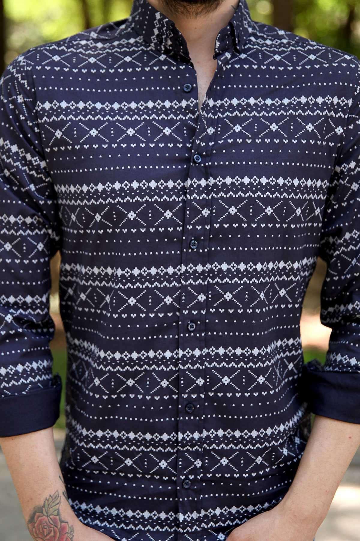 Çarpı Desenli Klasik Yaka Slim Fit Gömlek Lacivert