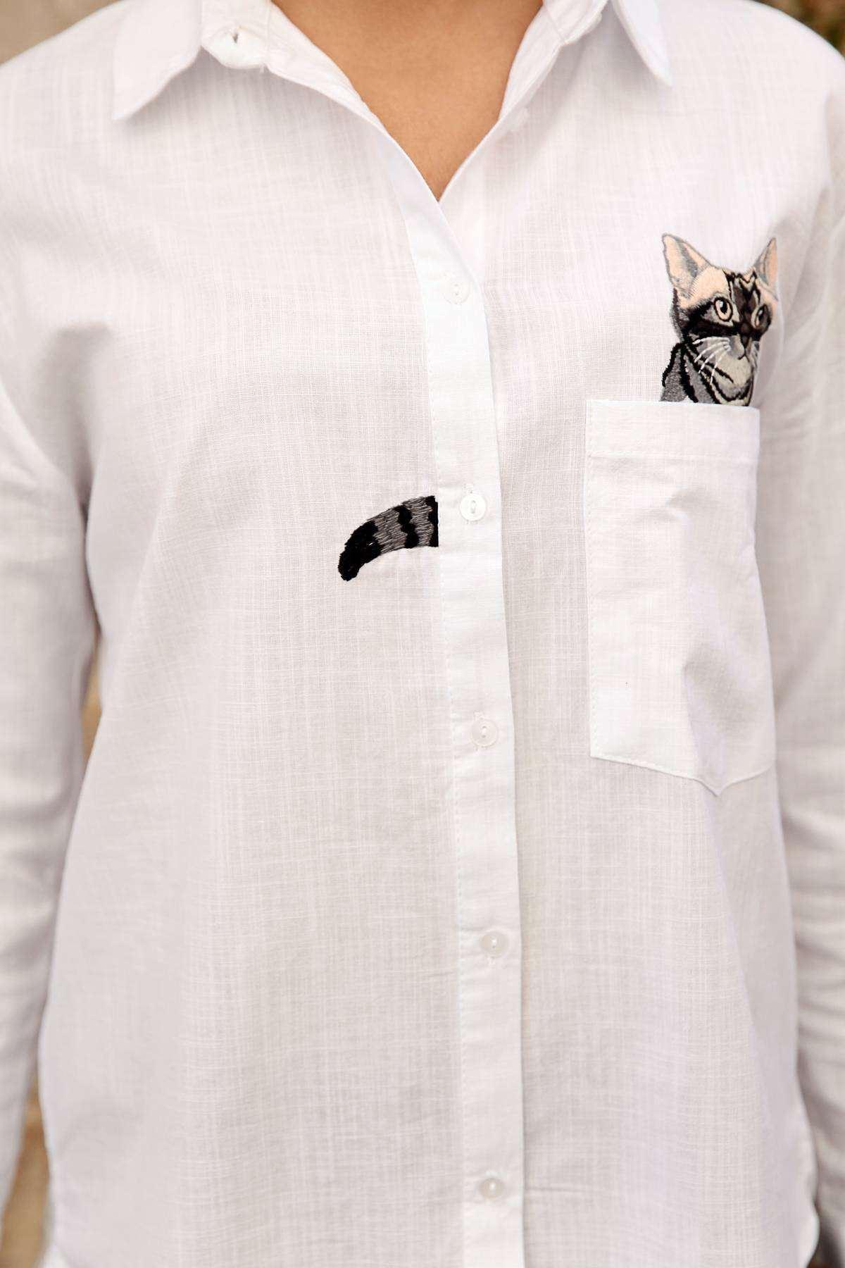 Cep Kedi Nakış İşleme Detaylı Uzun Kol Gömlek Beyaz