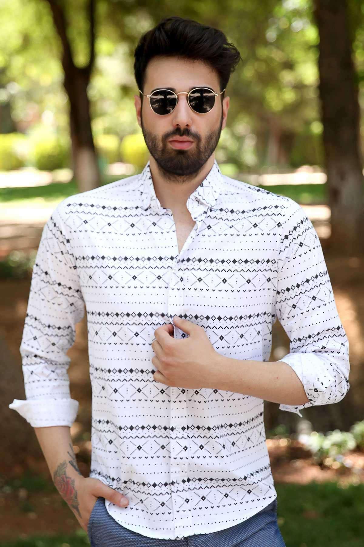 Çarpı Desenli Klasik Yaka Slim Fit Gömlek Beyaz