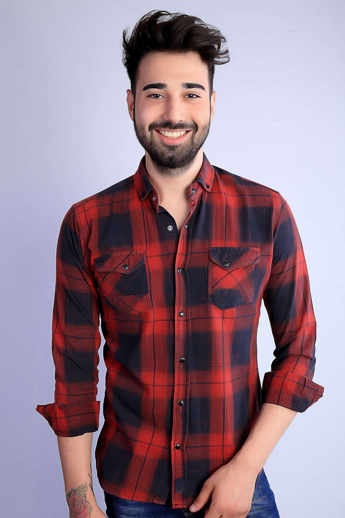 Çıtçıt Düğmeli Çift Cep Enine Boyuna Çizgili Slim Fit Gömlek Bordo-Siyah