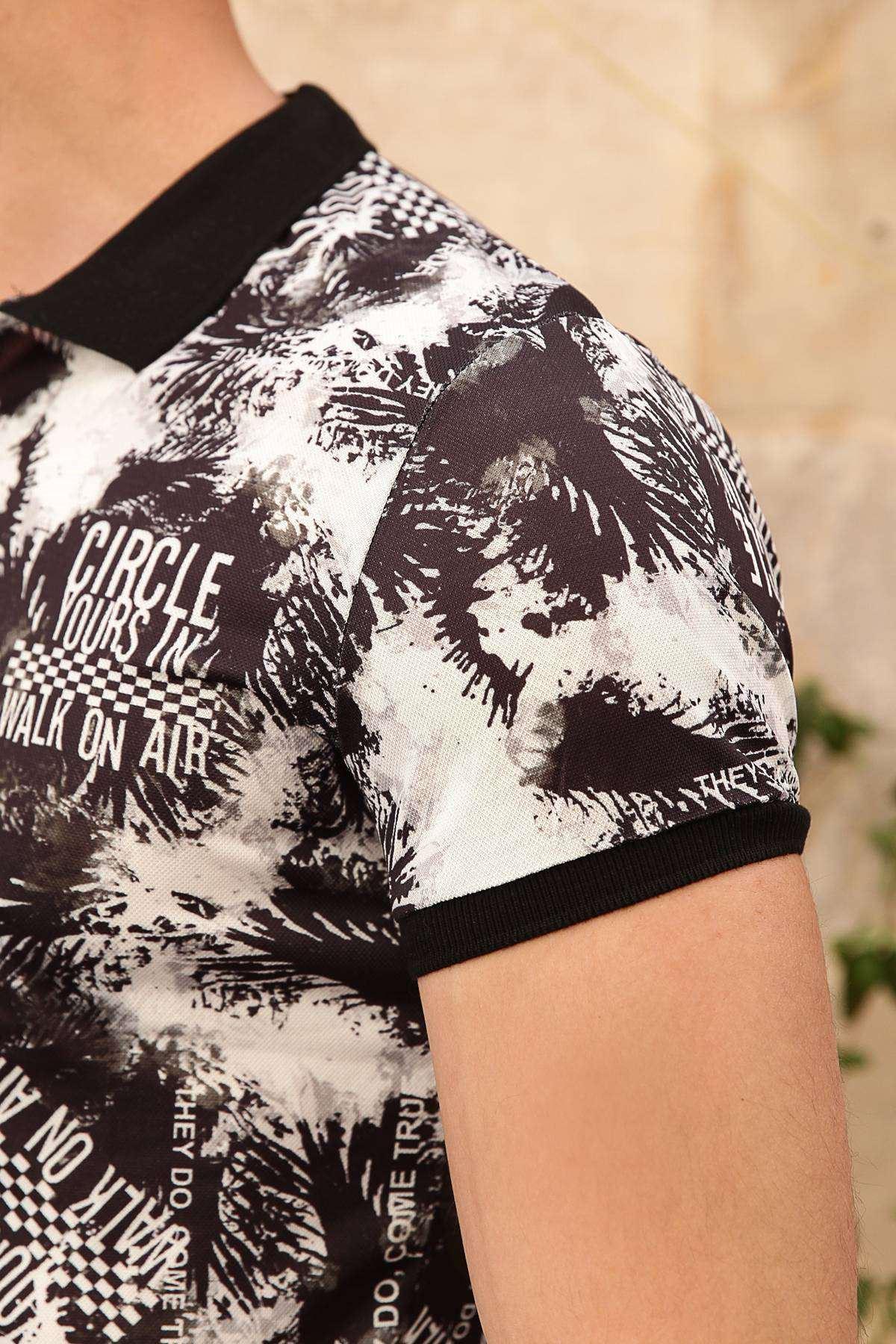 Circle Yours Yazı Baskılı Dijital Polo Yaka Slim Fit Tişört Siyah