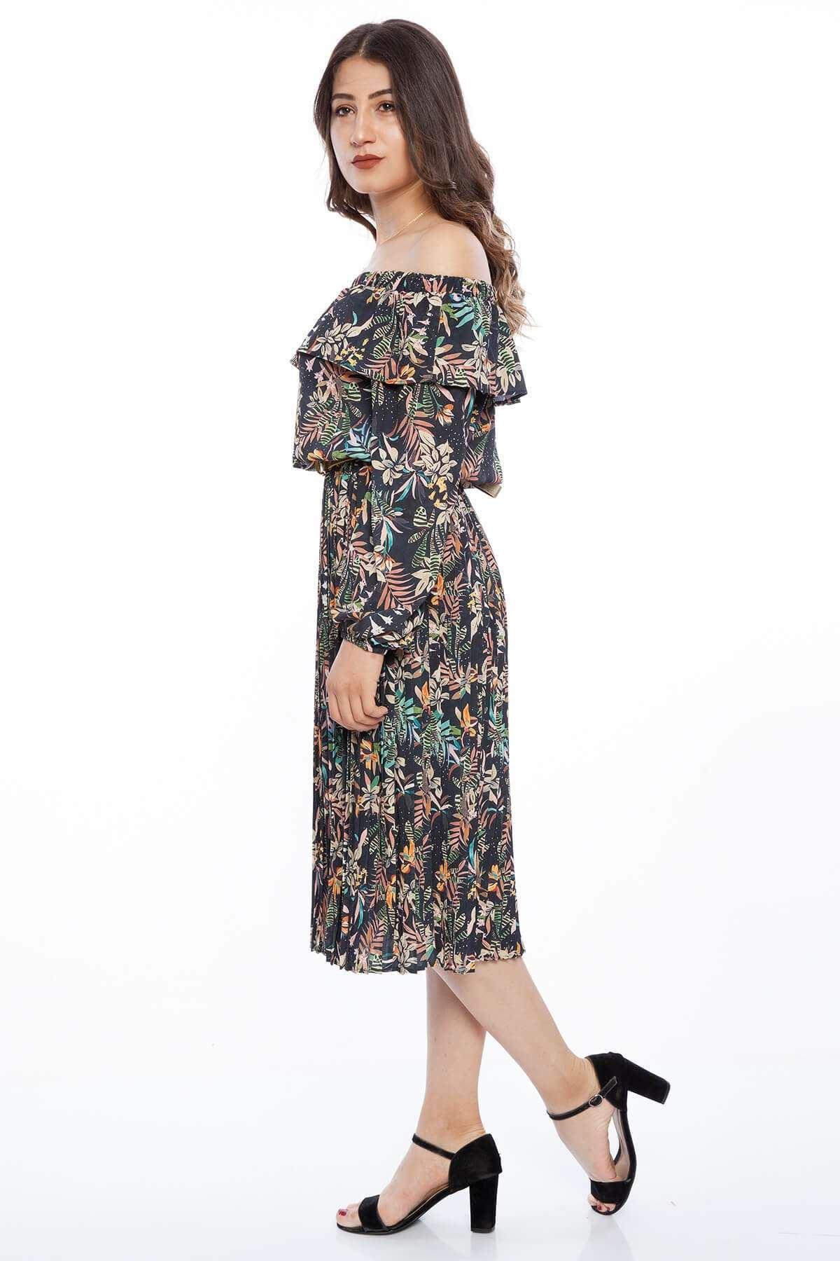 Çiçek Desenli Altı Pliseli Straplez Elbise Siyah