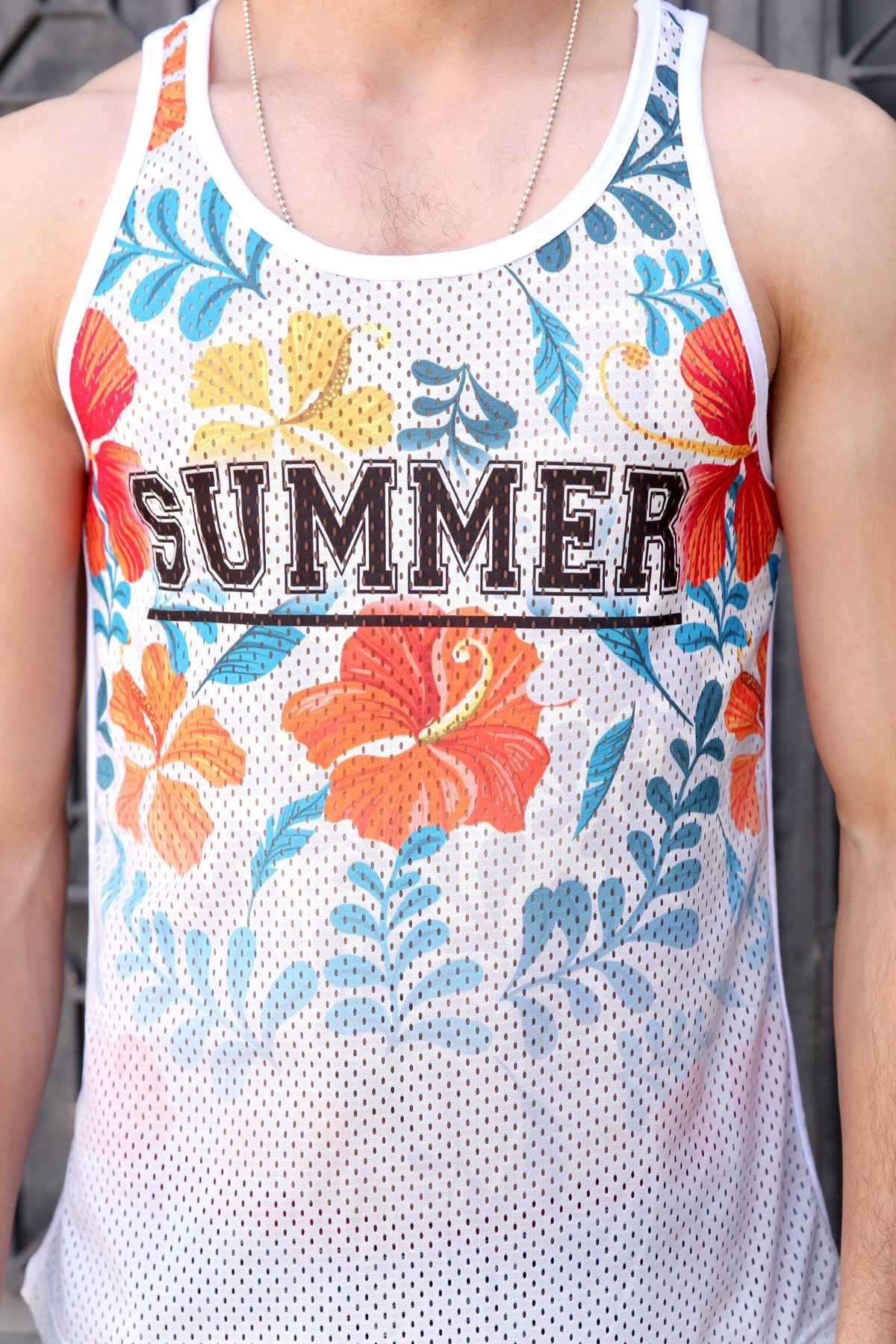 Çiçek Desenli Summer Yazılı Fileli Slim Fit Atlet Beyaz