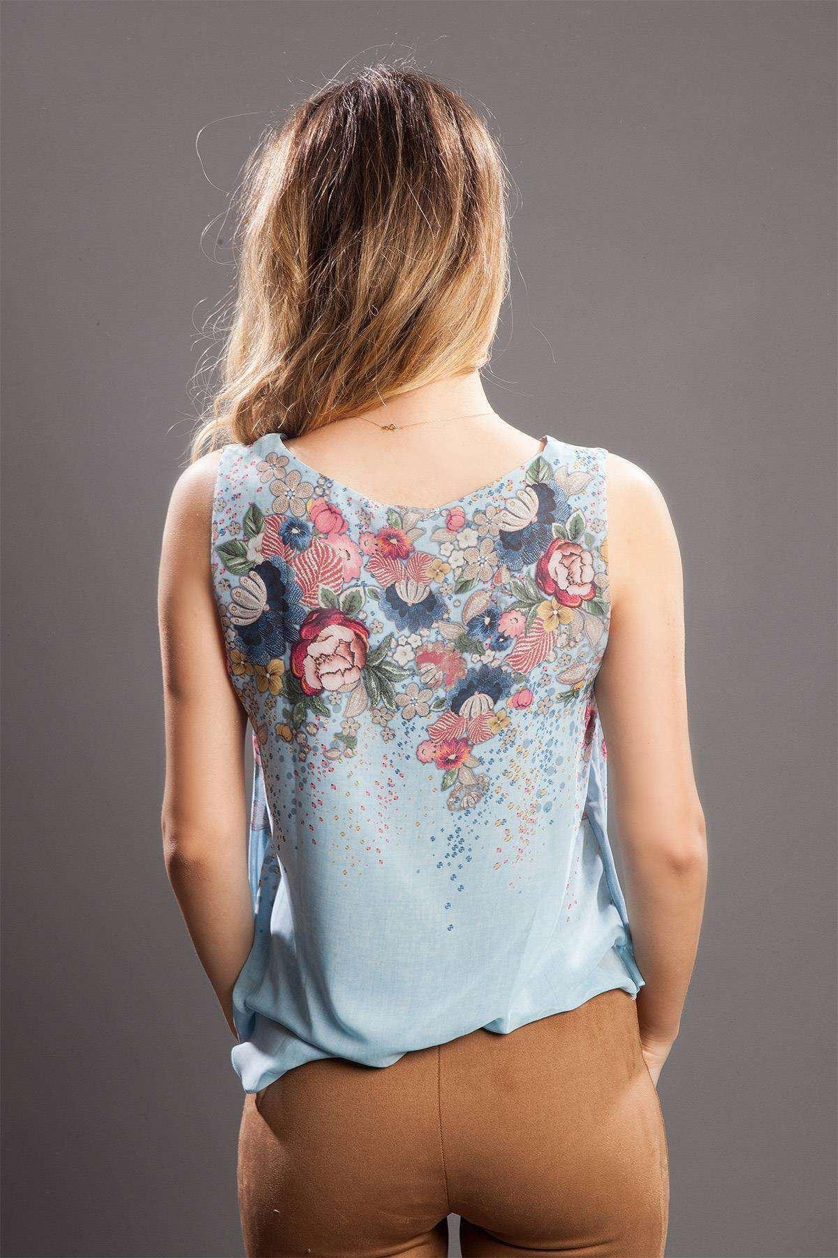Çiçek Desenli Astarlı Bluz Mavi