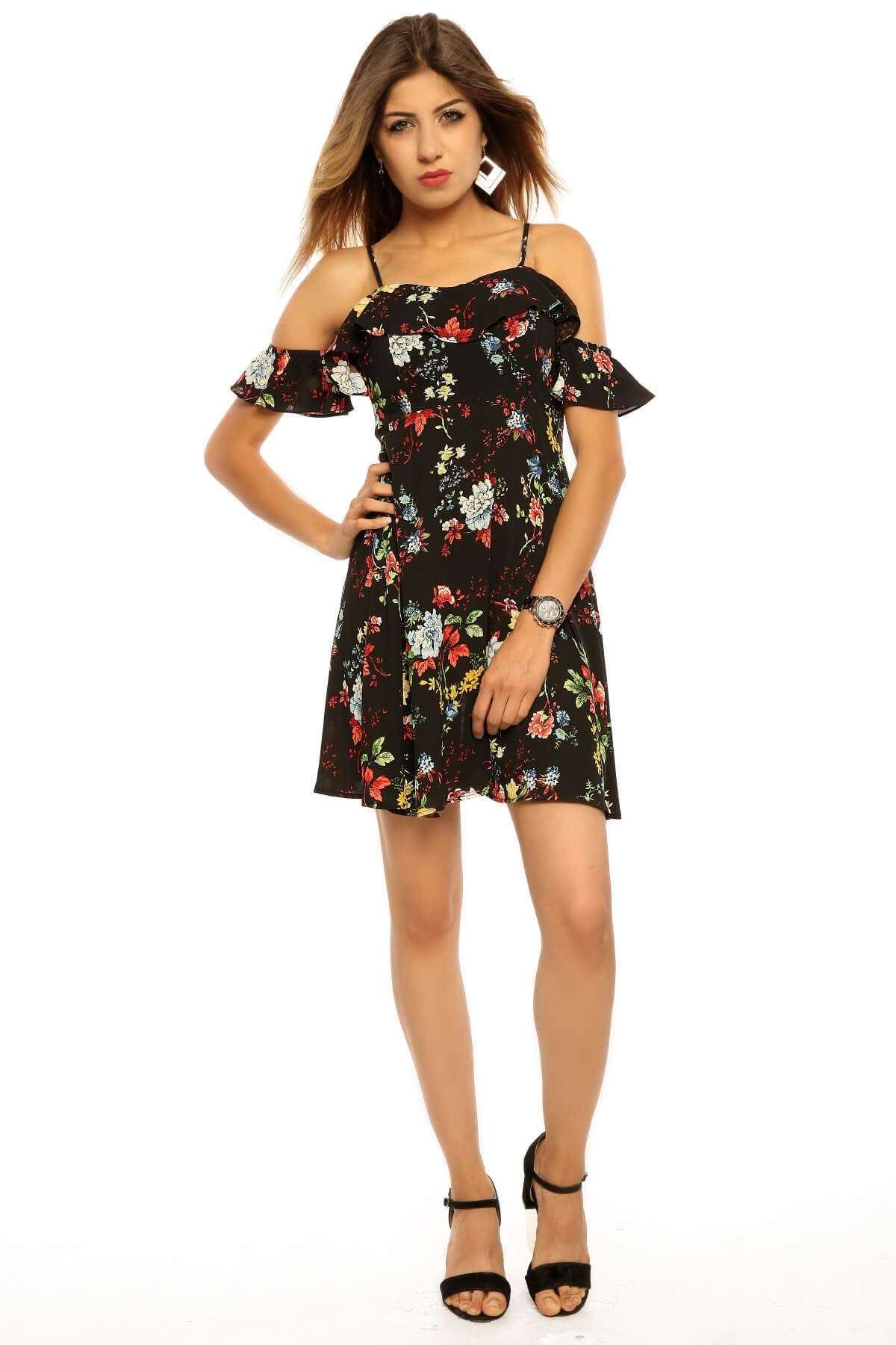 Çiçek Desenli Askılı Elbise Siyah