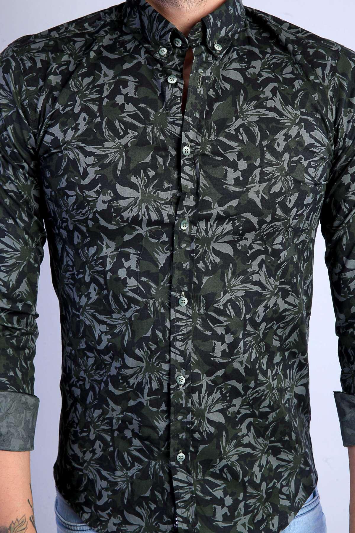 Çiçek Desenli Yaka Düğmeli Slim Fit Gömlek Haki