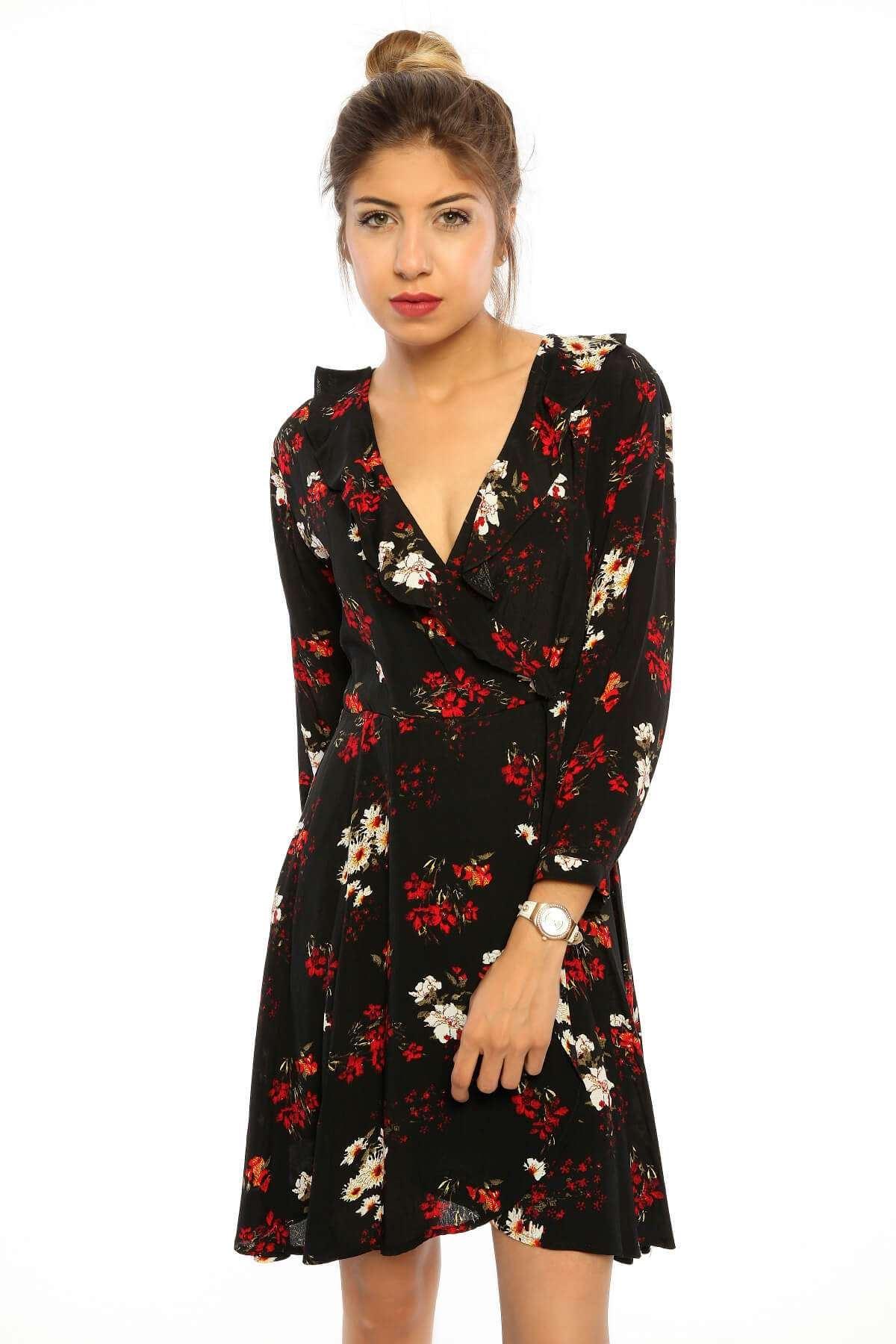 Çiçek Desenli Uzun Kol Verevli Elbise Siyah