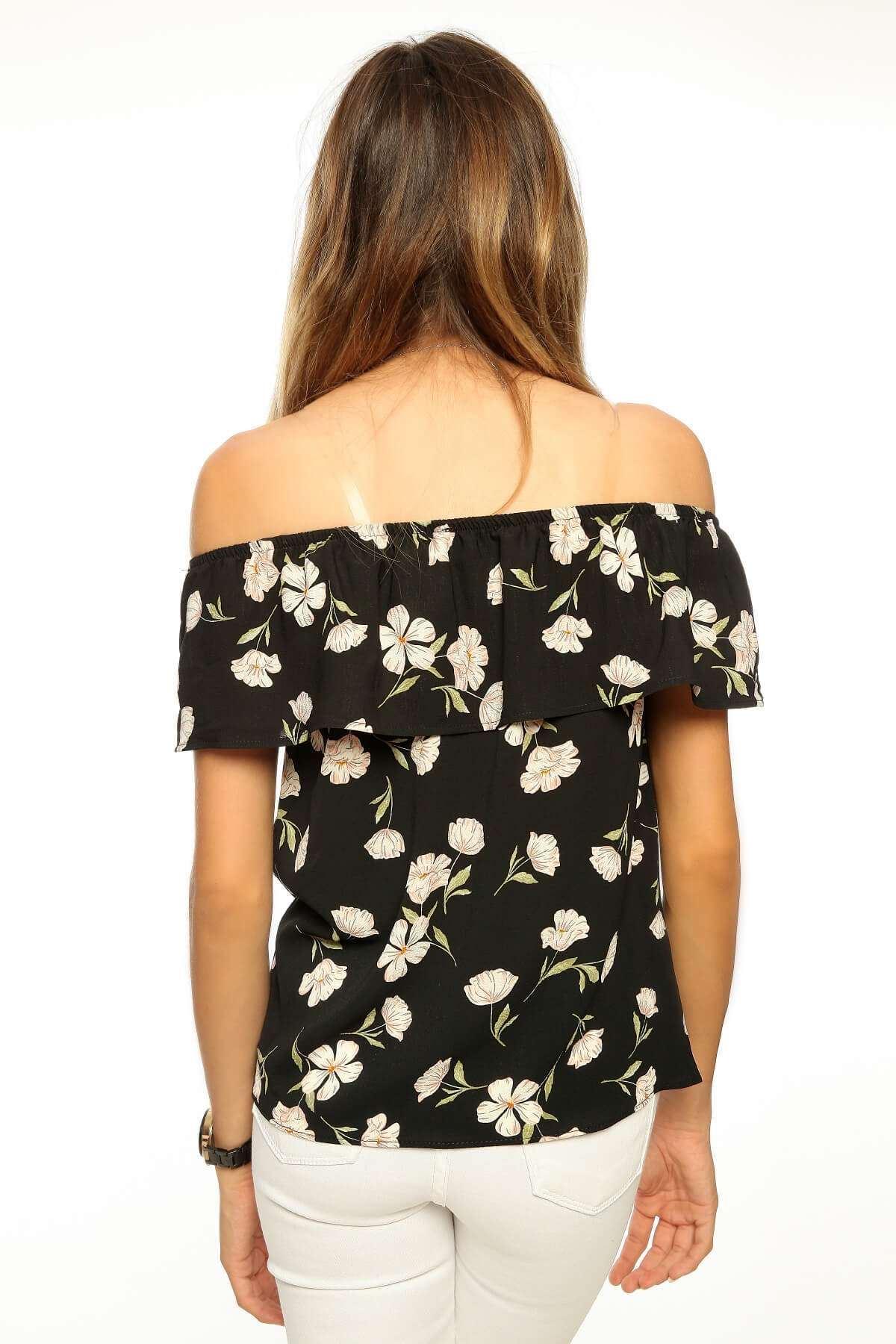 Çiçek Desenli Straplez Bluz Siyah