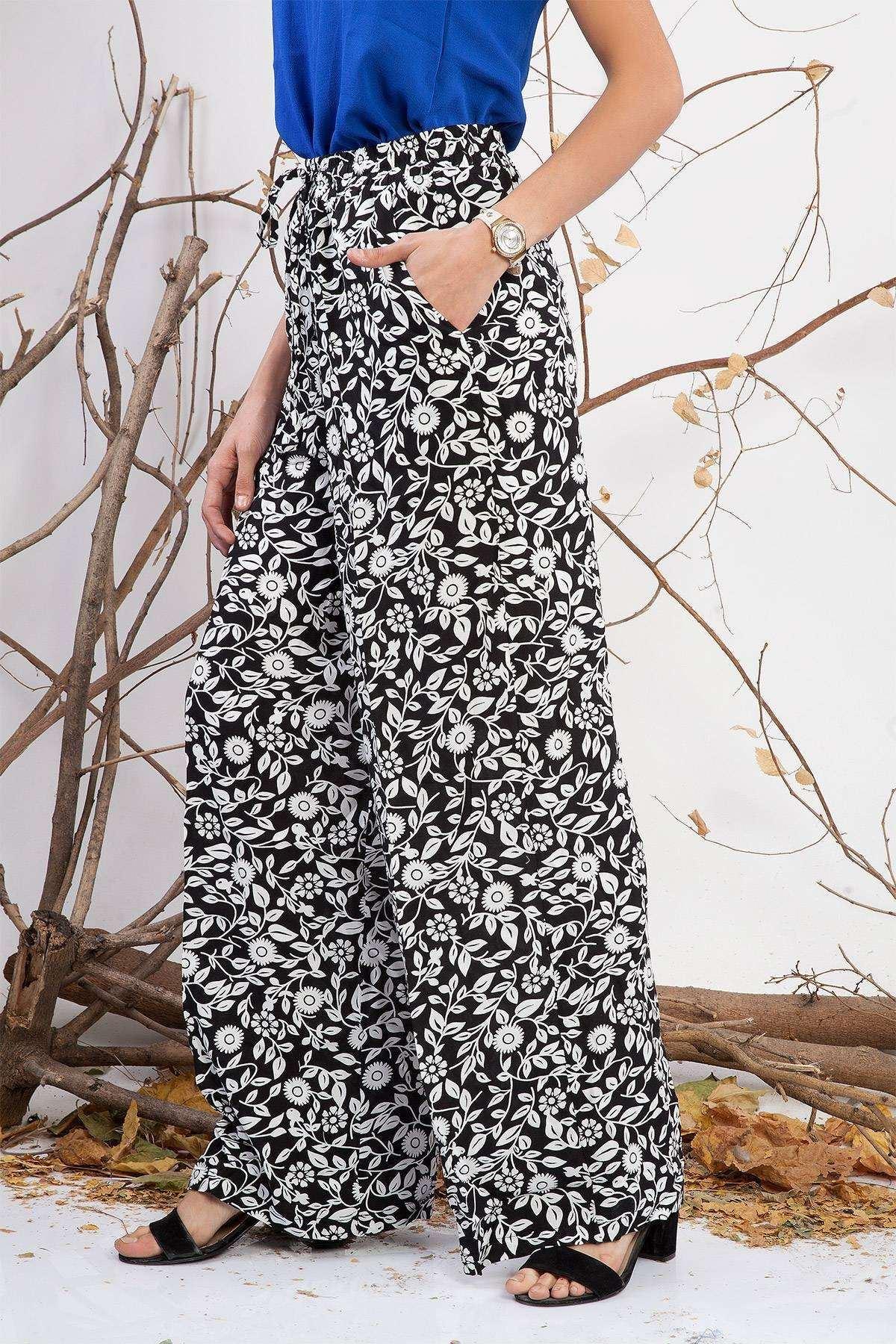 Çiçek Desenli Beli Kordonlu Salaş Pantolon Siyah-Beyaz