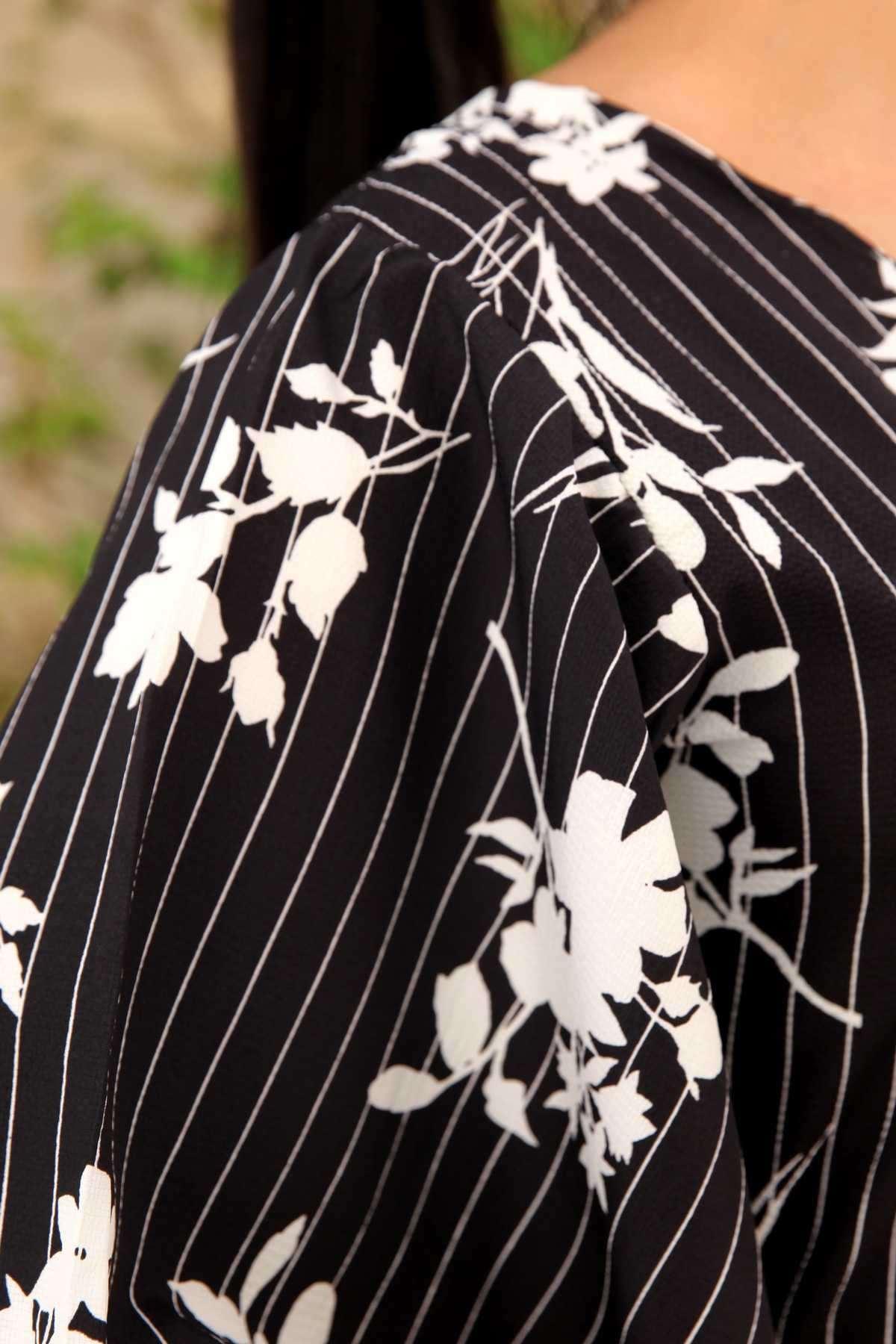 Çiçek Desen Çizgili Ges Kol Elbise Siyah