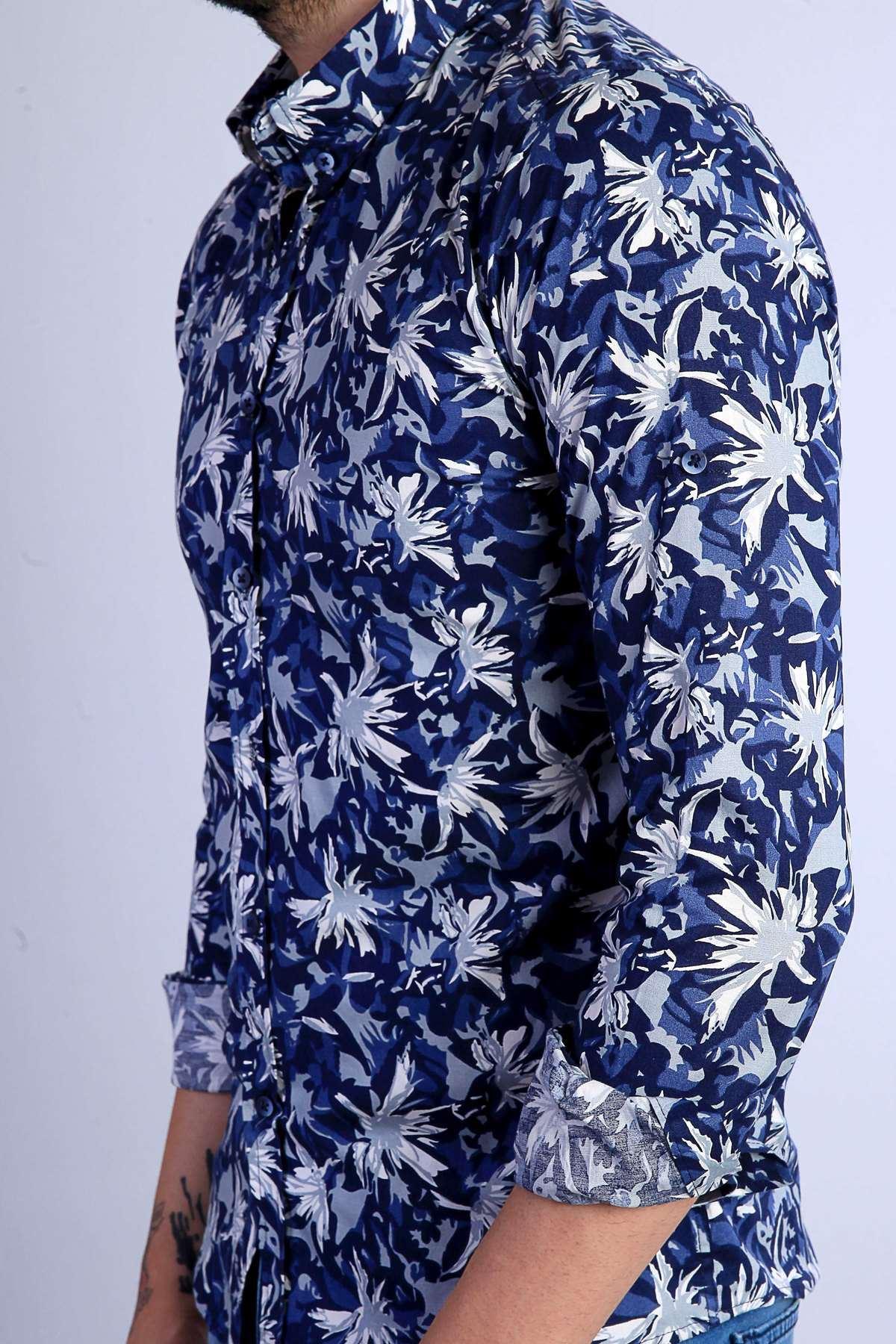 Çiçek Desenli Yaka Düğmeli Slim Fit Gömlek Saks