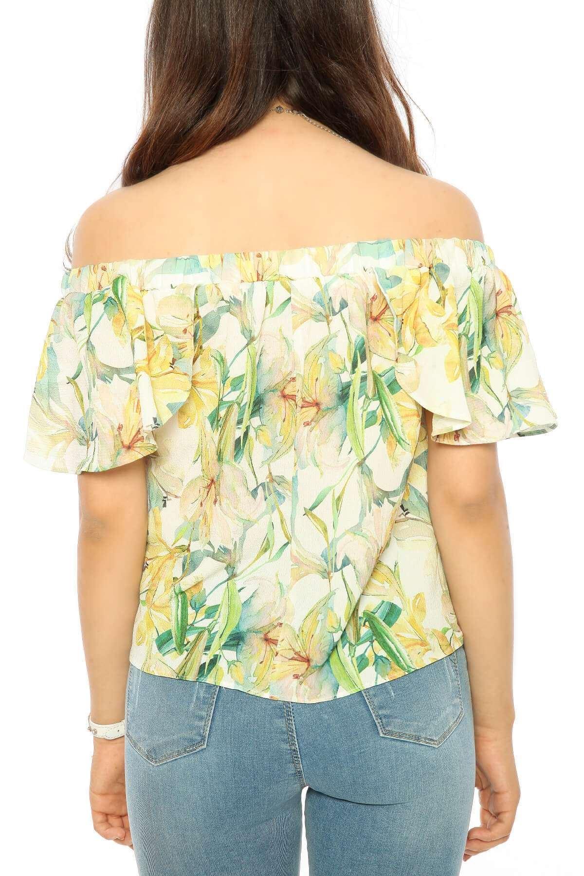 Çiçek Desenli Kol Detaylı Straplez Bluz Beyaz
