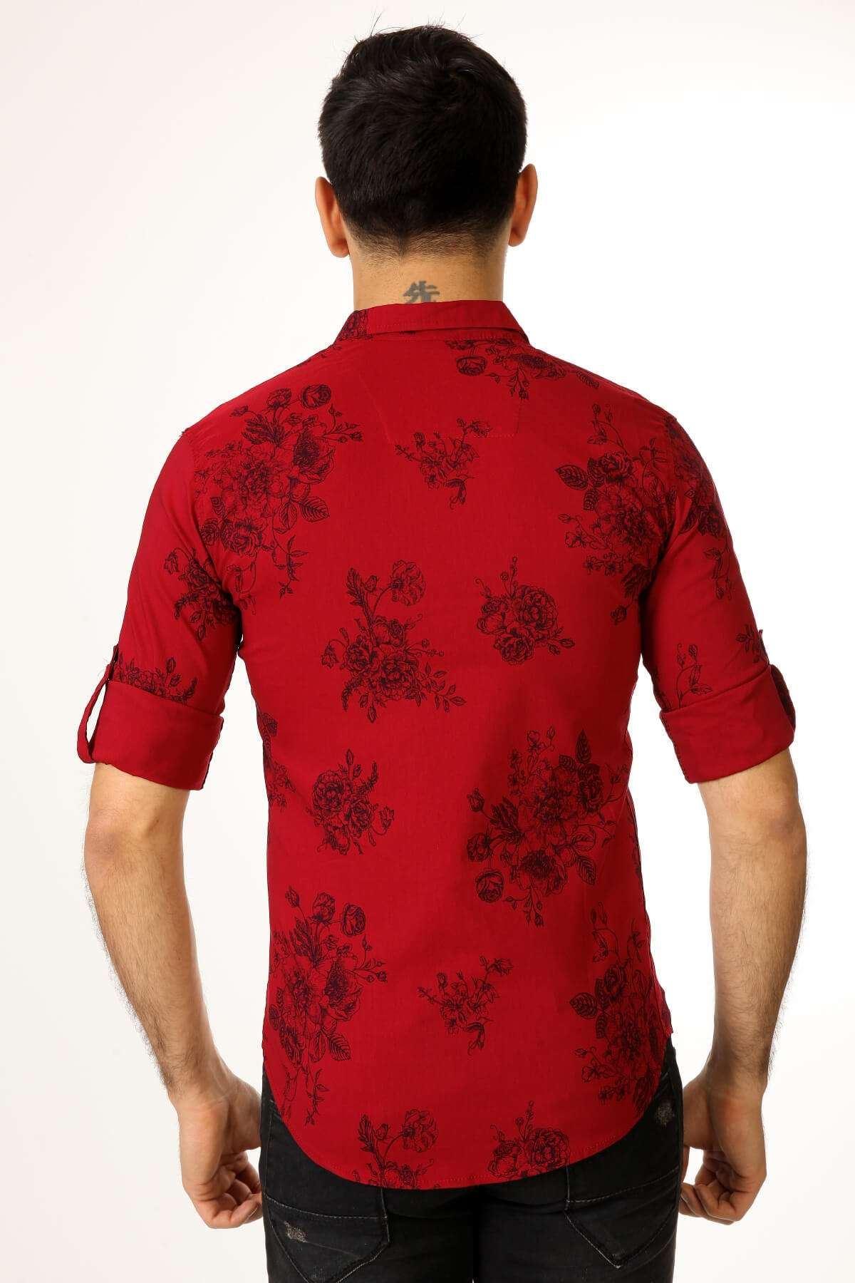 Çiçek Desenli Slim Fit Gömlek Bordo