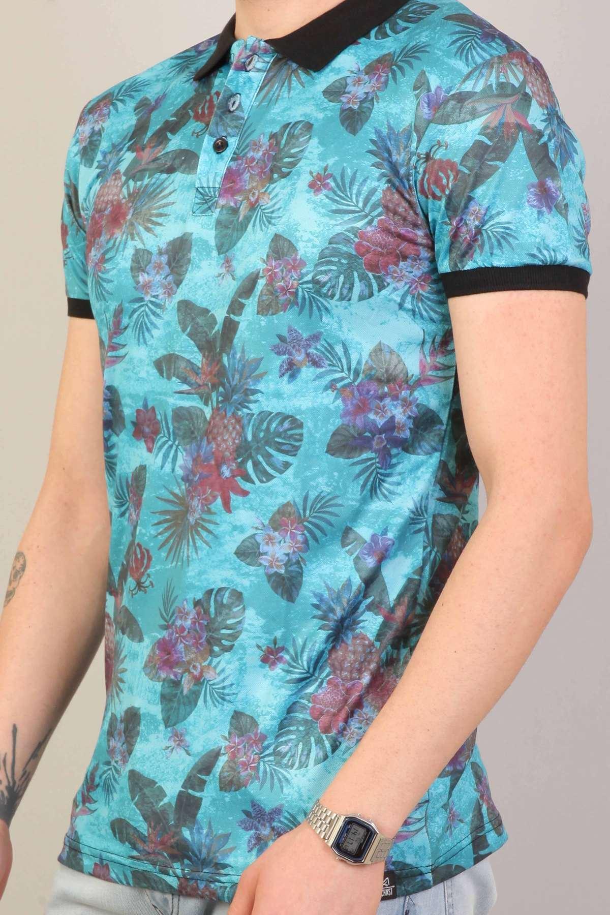 Çiçek Baskılı Ananas Desenli Dijital Polo Yaka Tişört Turkuaz