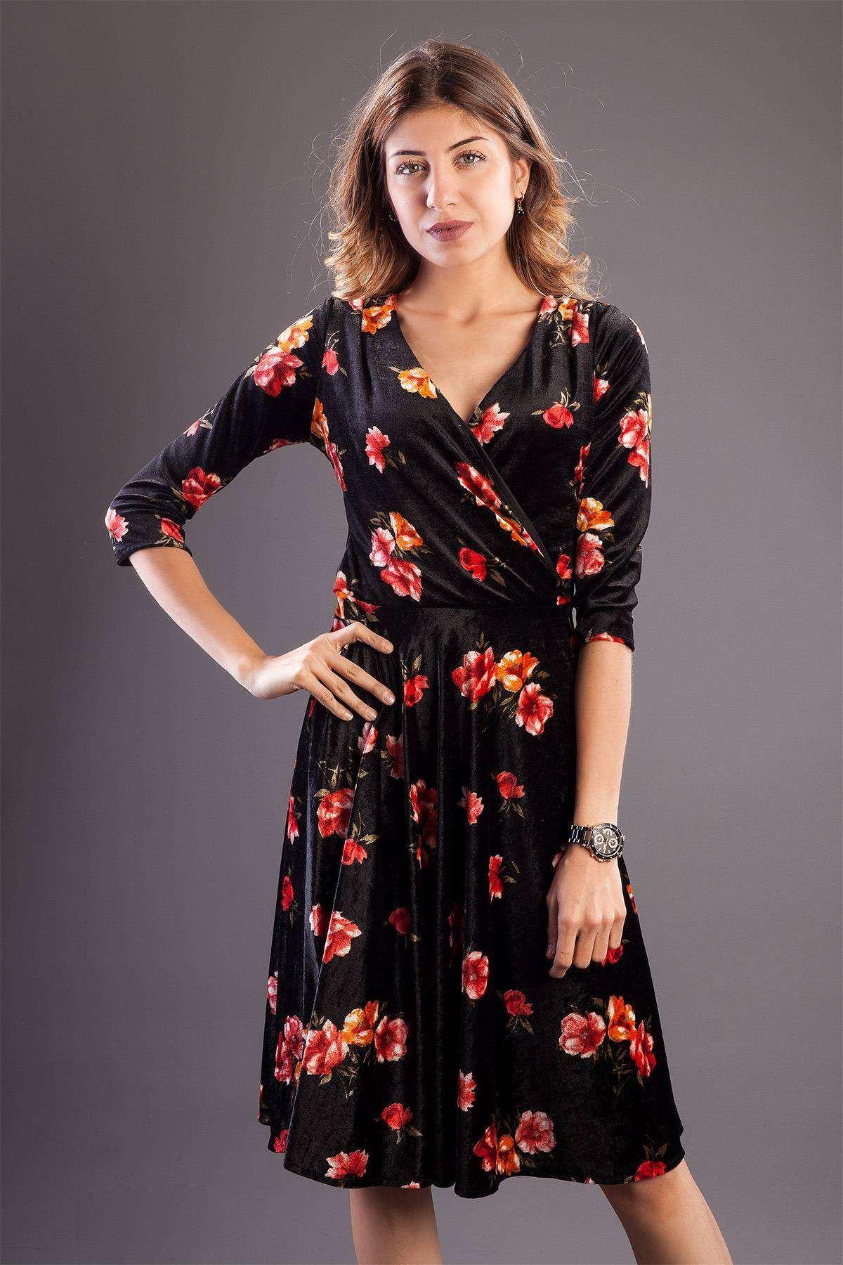 Çiçek Desenli Önü Çarpraz Gez Kol Elbise Siyah